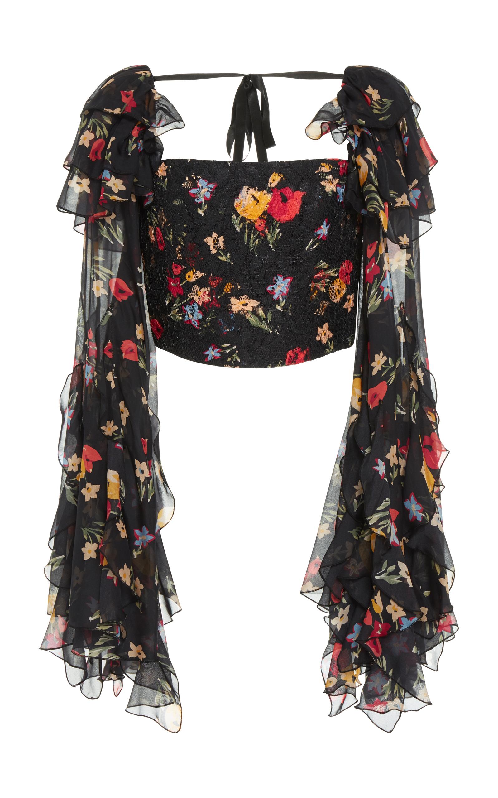 RODARTE Square-Neck Floral-Print Silk-Blend Blouse in Multi