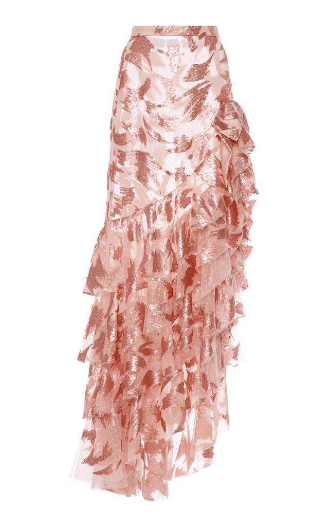 RODARTE Ruffled Skirt With Bow Detail in Light Pink