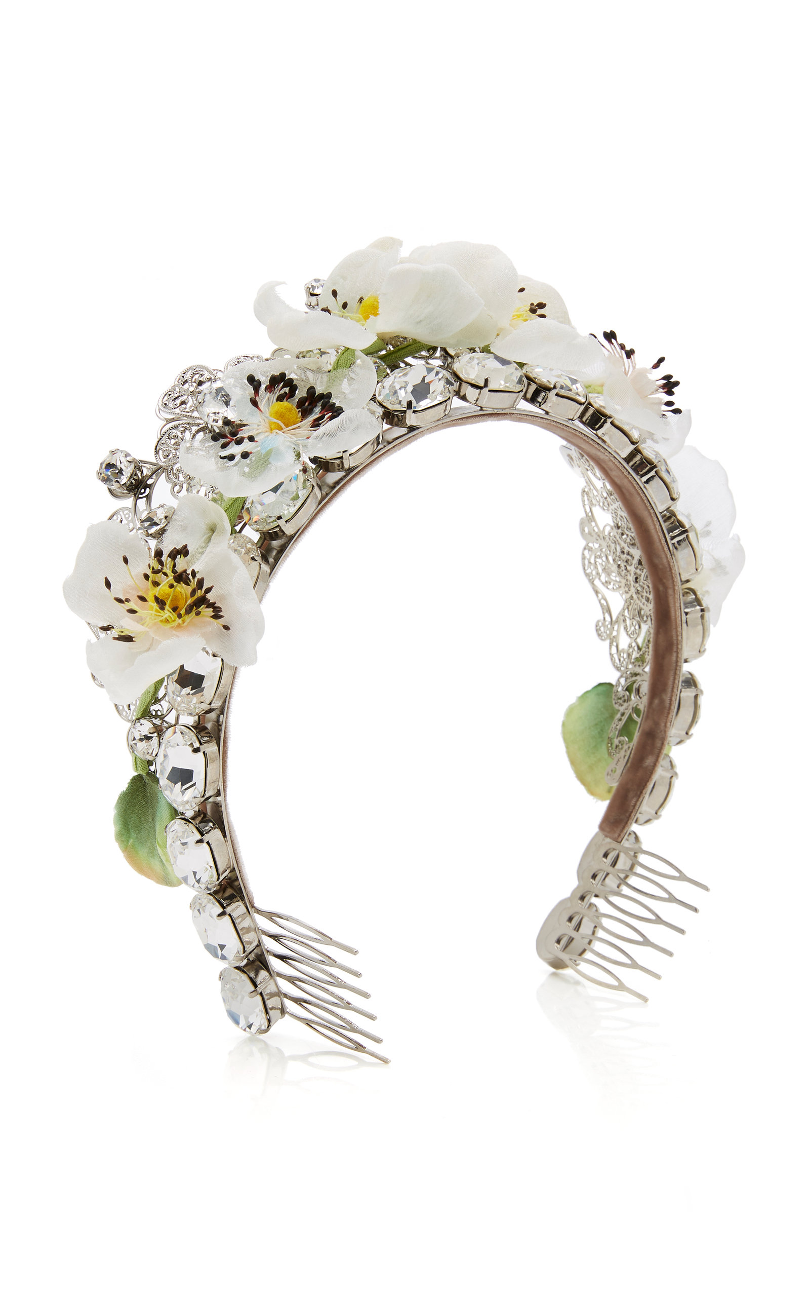 Silk Blend Flower And Crystal Tiara By Dolce Gabbana Moda Operandi