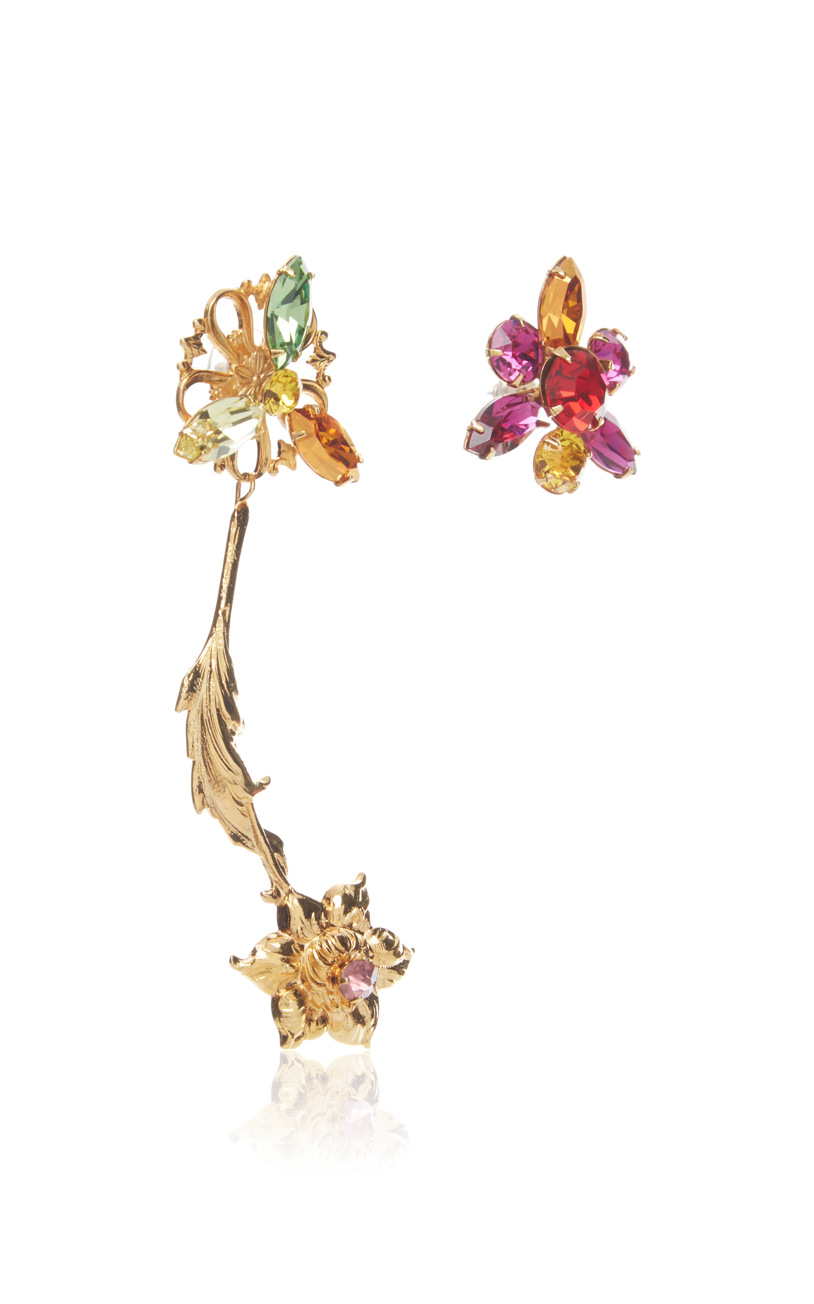 Gold Flower Earrings with Multicolor Swarovski Crystal Details Rodarte DDFxZ