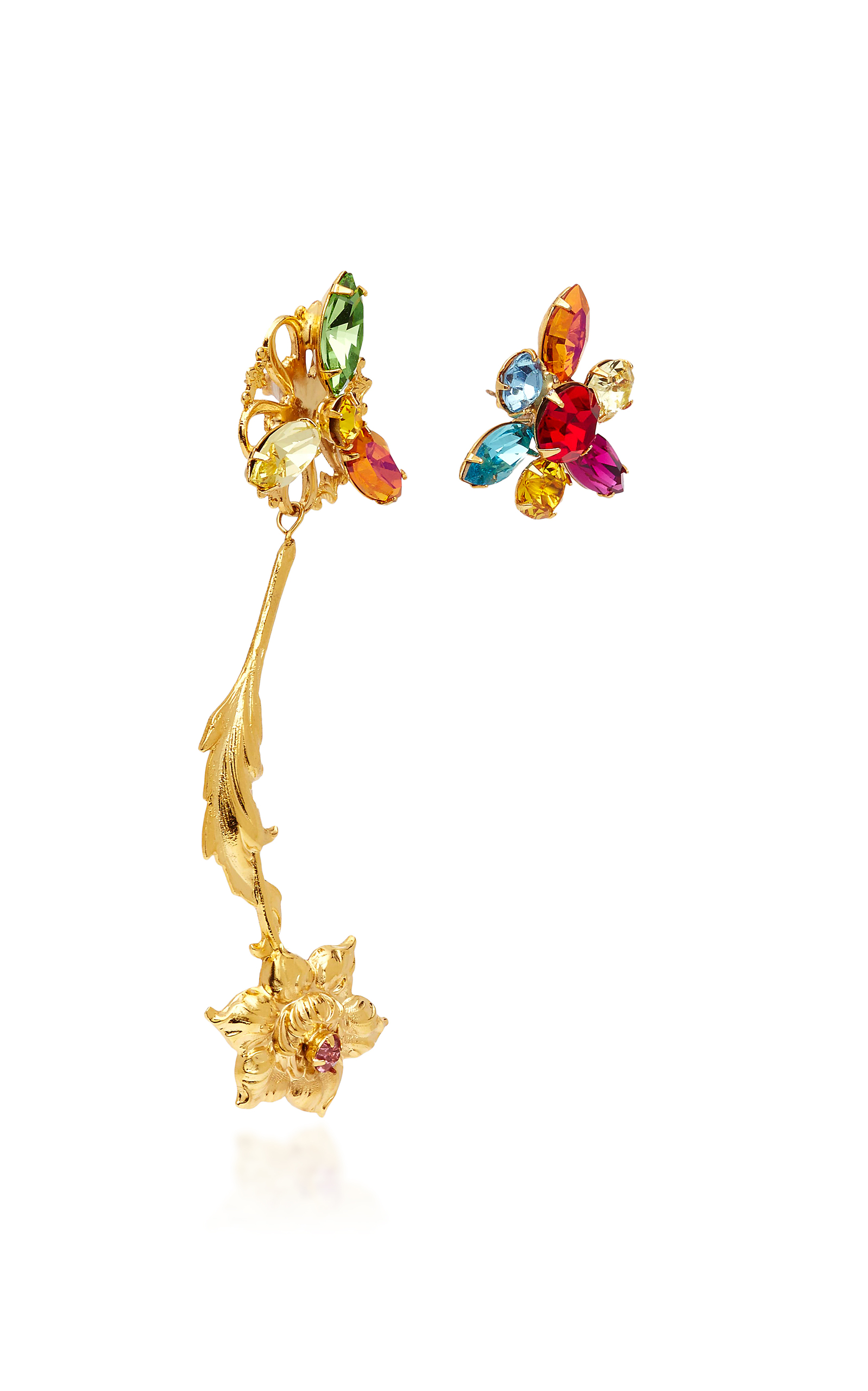 Gold Flower Earrings with Multicolor Swarovski Crystal Details Rodarte zyUO3jGzwU