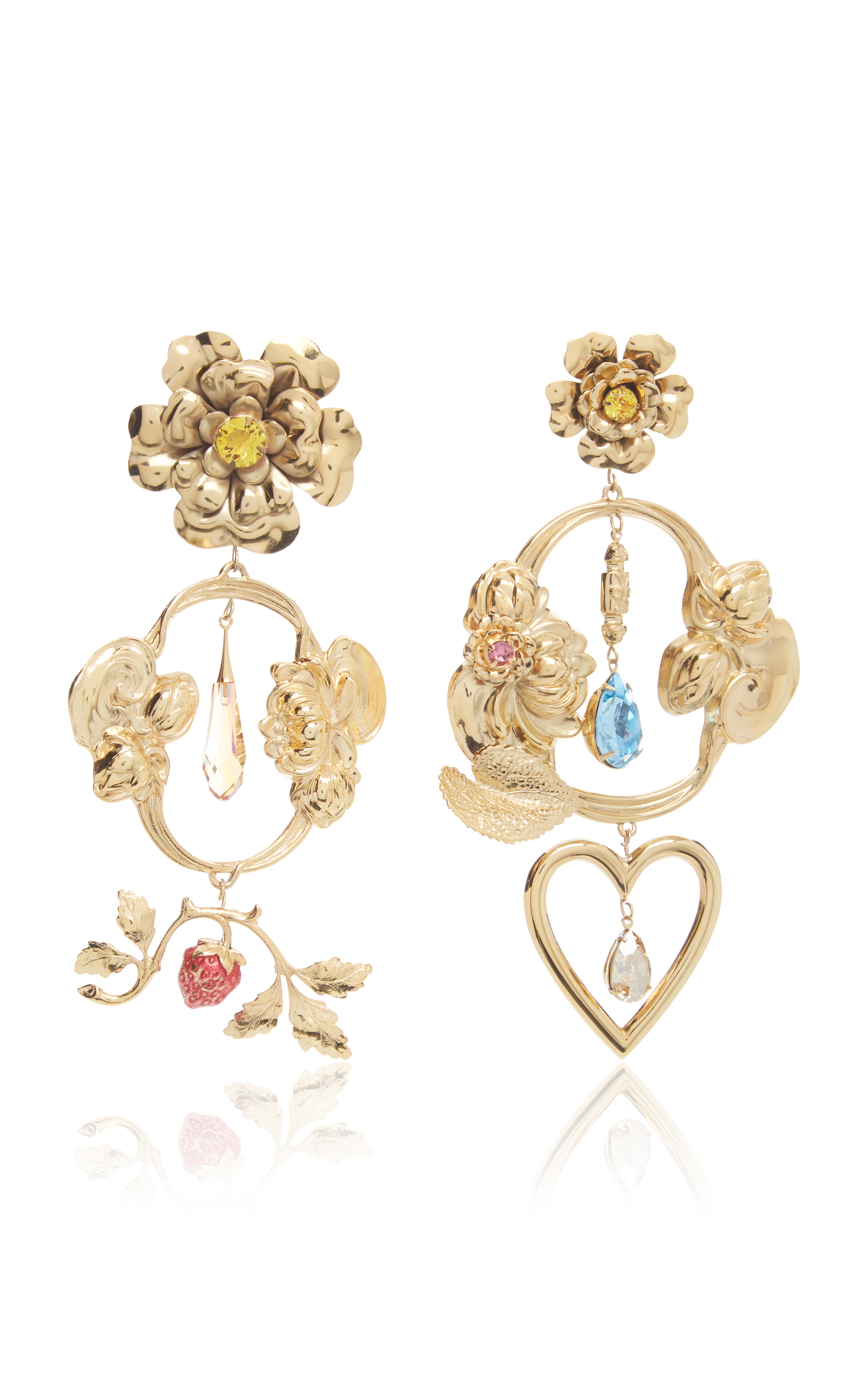 Rodarte Gold Baroque Fl And Heart Dangle Earrings With Swarovski Crystal Details