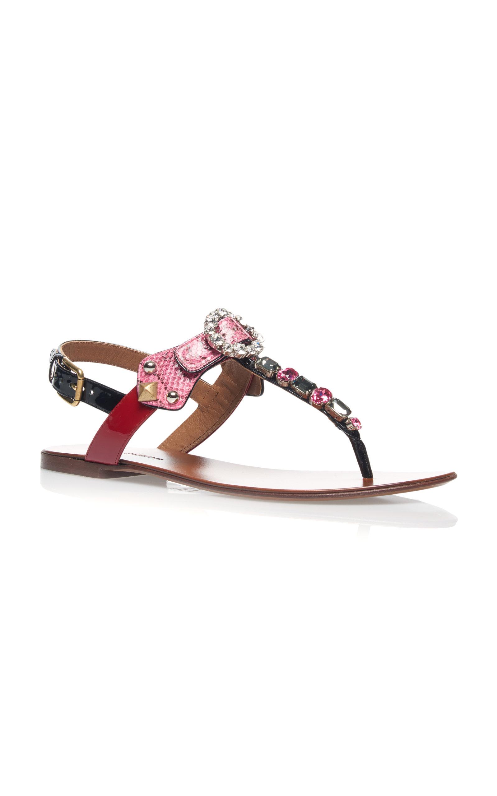 Embellished Snake and Leather Sandals Dolce & Gabbana ORoSbqrM
