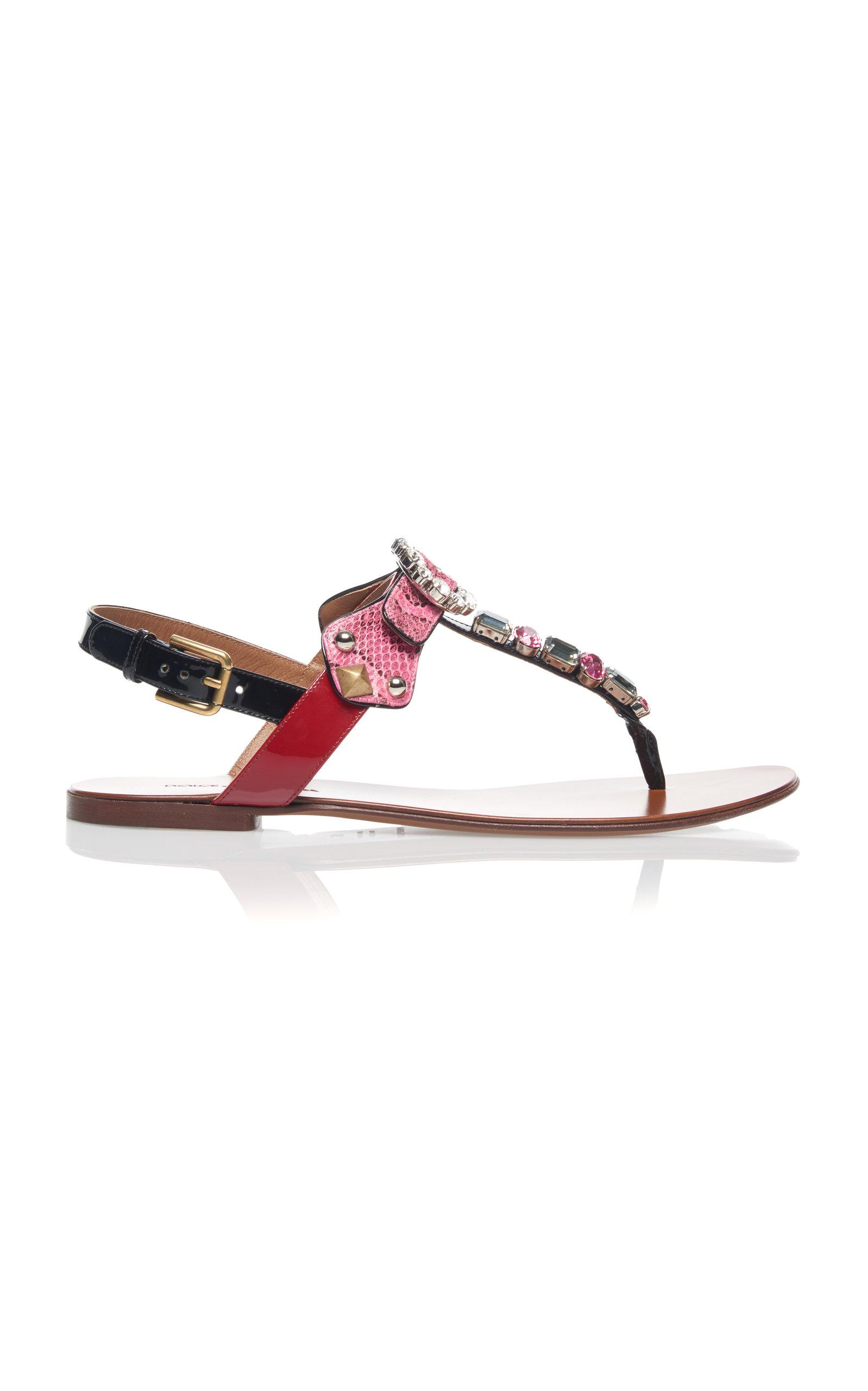 Embellished Snake and Leather Sandals Dolce & Gabbana h2Kbd