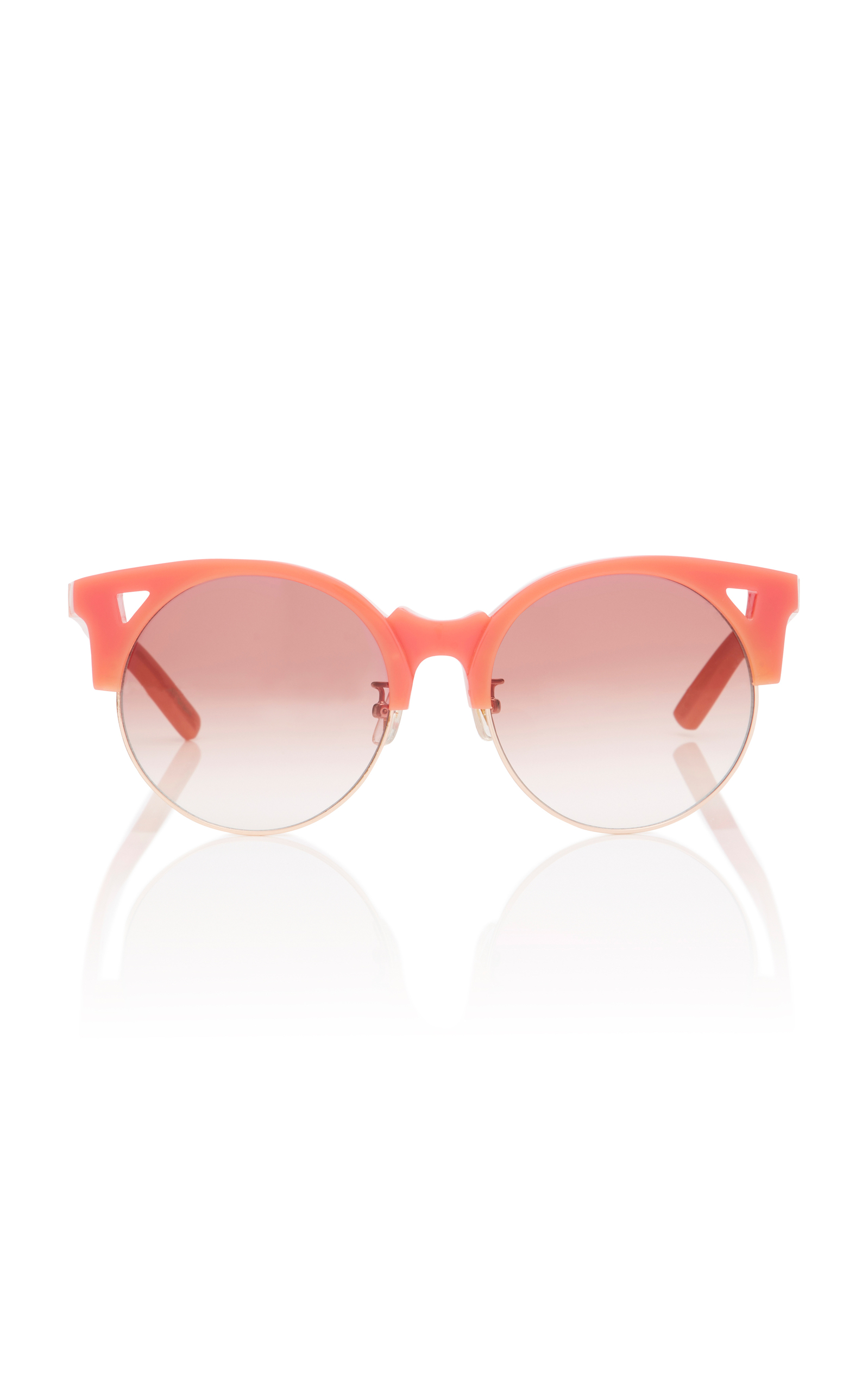 PARED EYEWEAR Up & At Em Semi-Rimless Round Sunglasses, Coral in Red