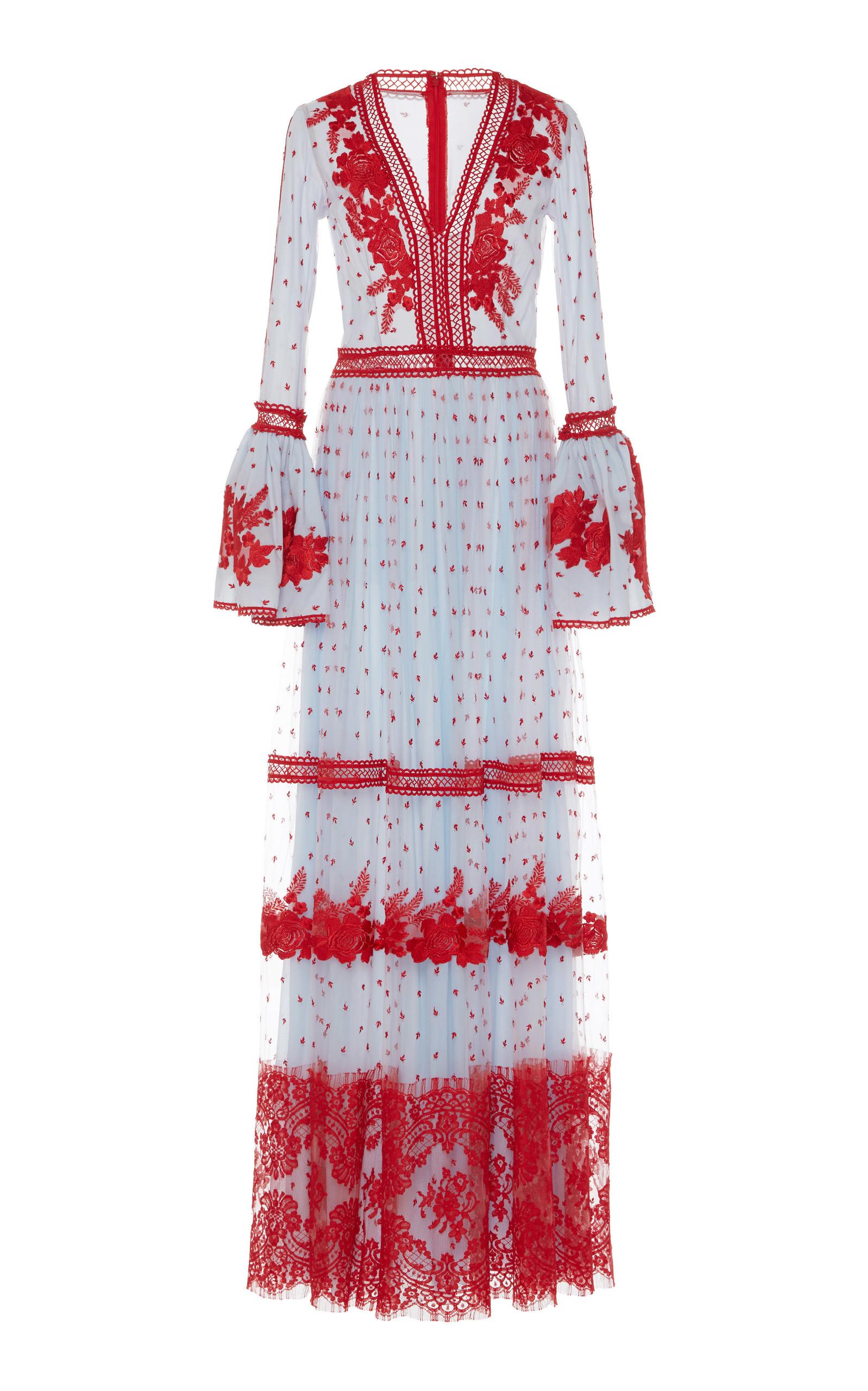 Bell Sleeve Long Dress Costarellos Professional yAeL1XoYaf
