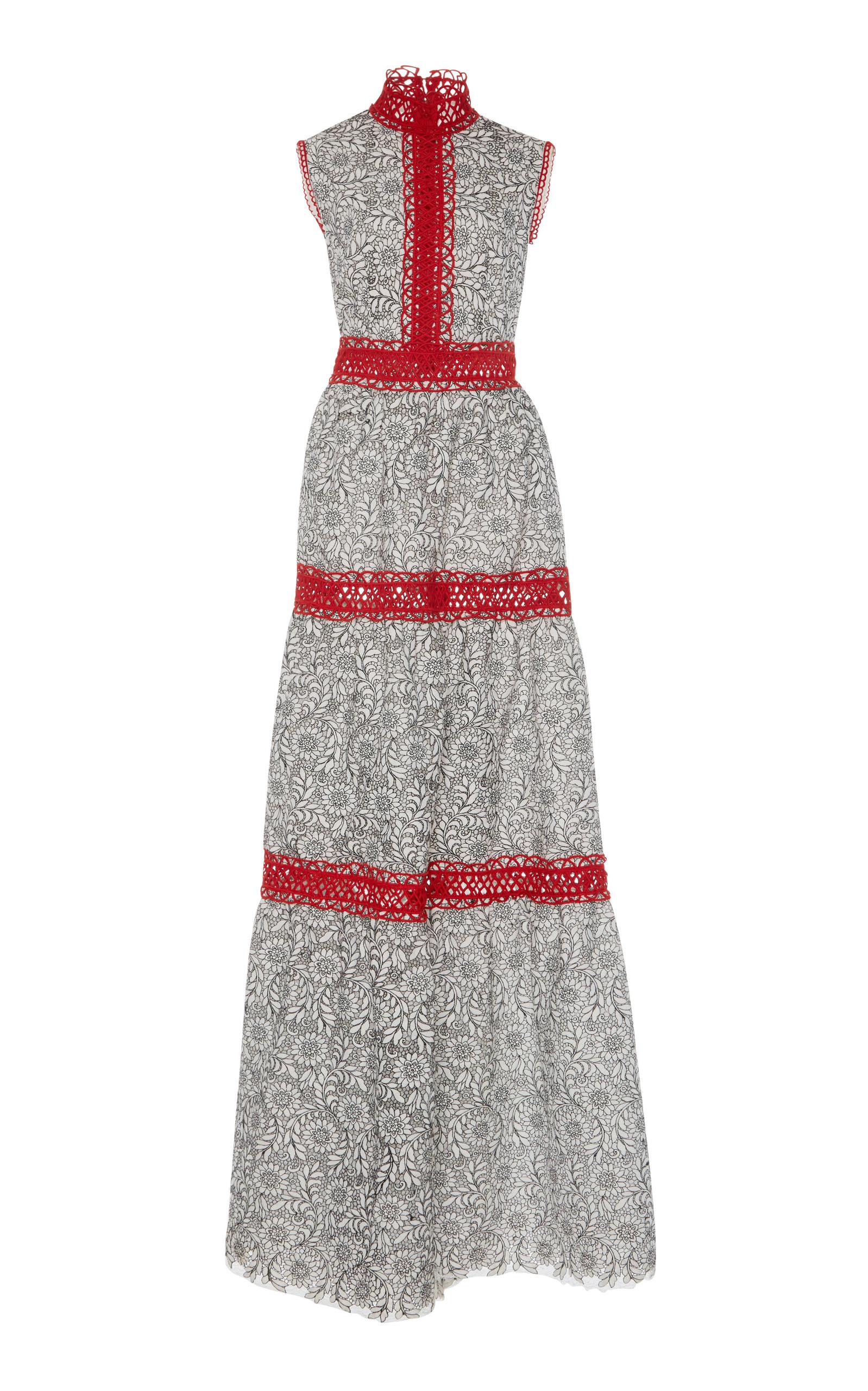 Costarellos Cordone Lace Long Dress
