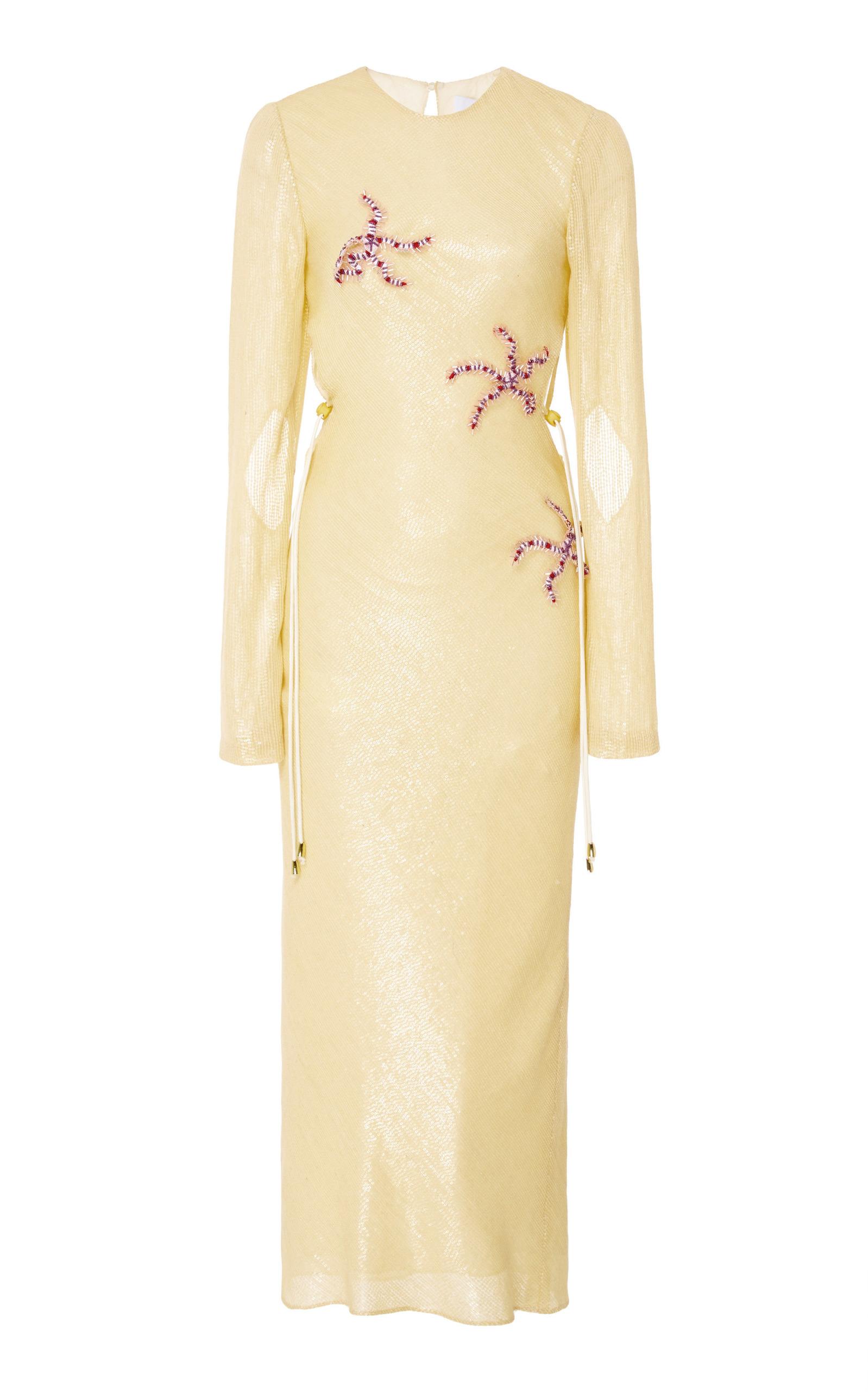 MARKARIAN Piscinus Sequin Midi Dress in Yellow