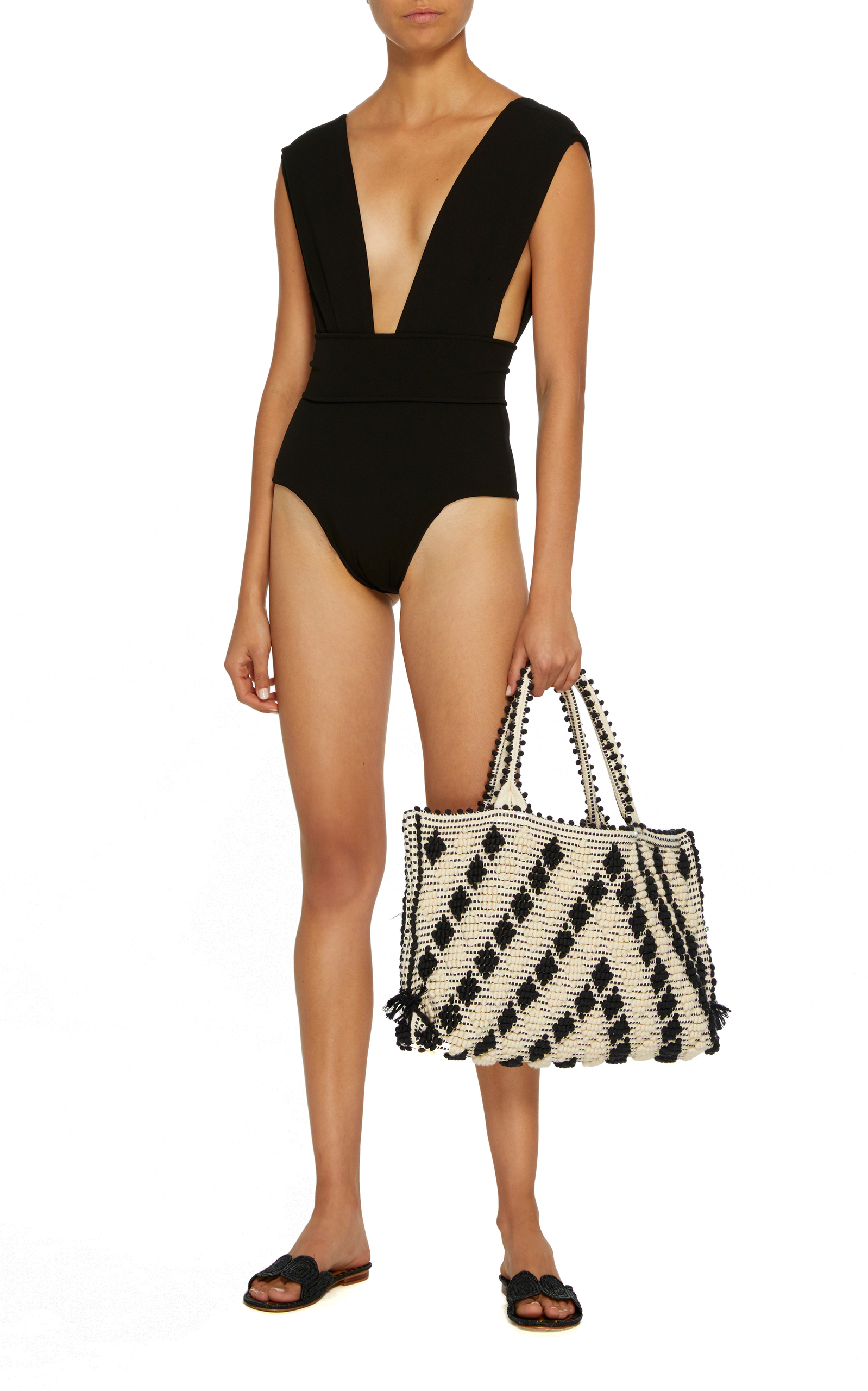 616f7362667 V Crepe One Piece Swimsuit