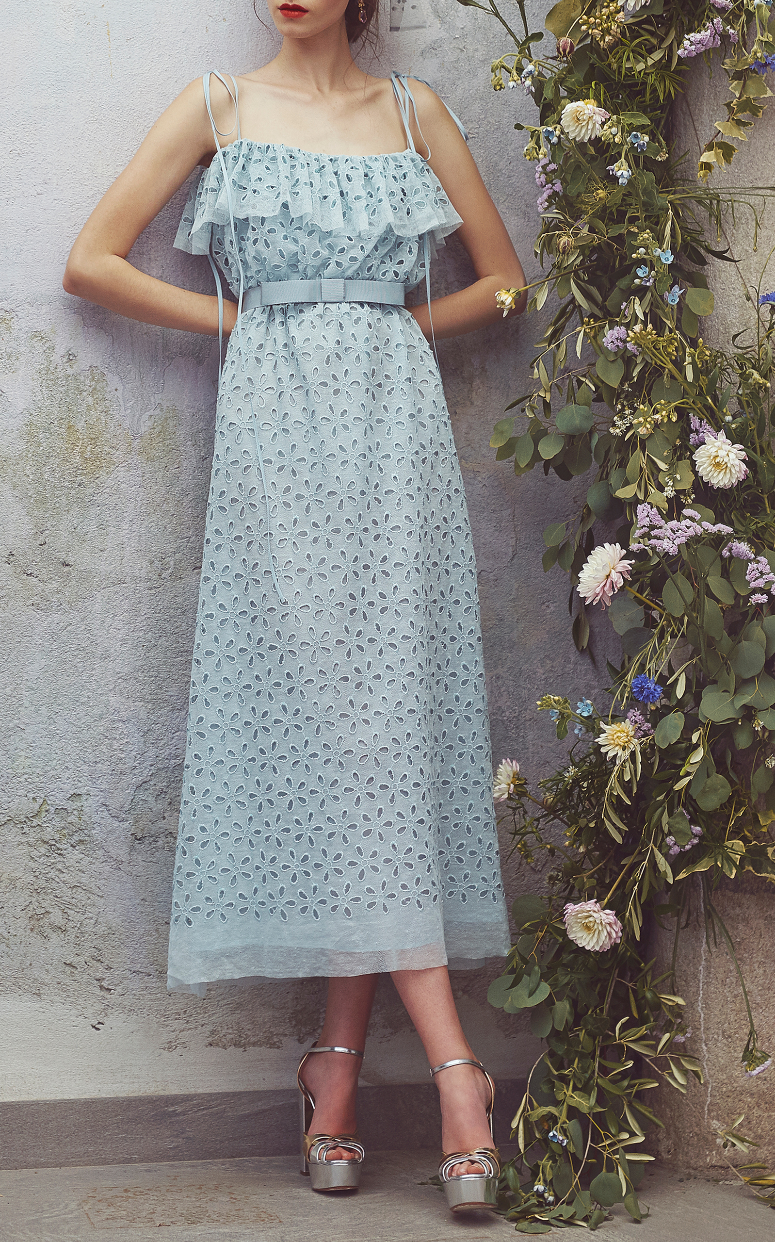 eb6f53089 Embroidered Eyelet Midi Dress by Luisa Beccaria | Moda Operandi