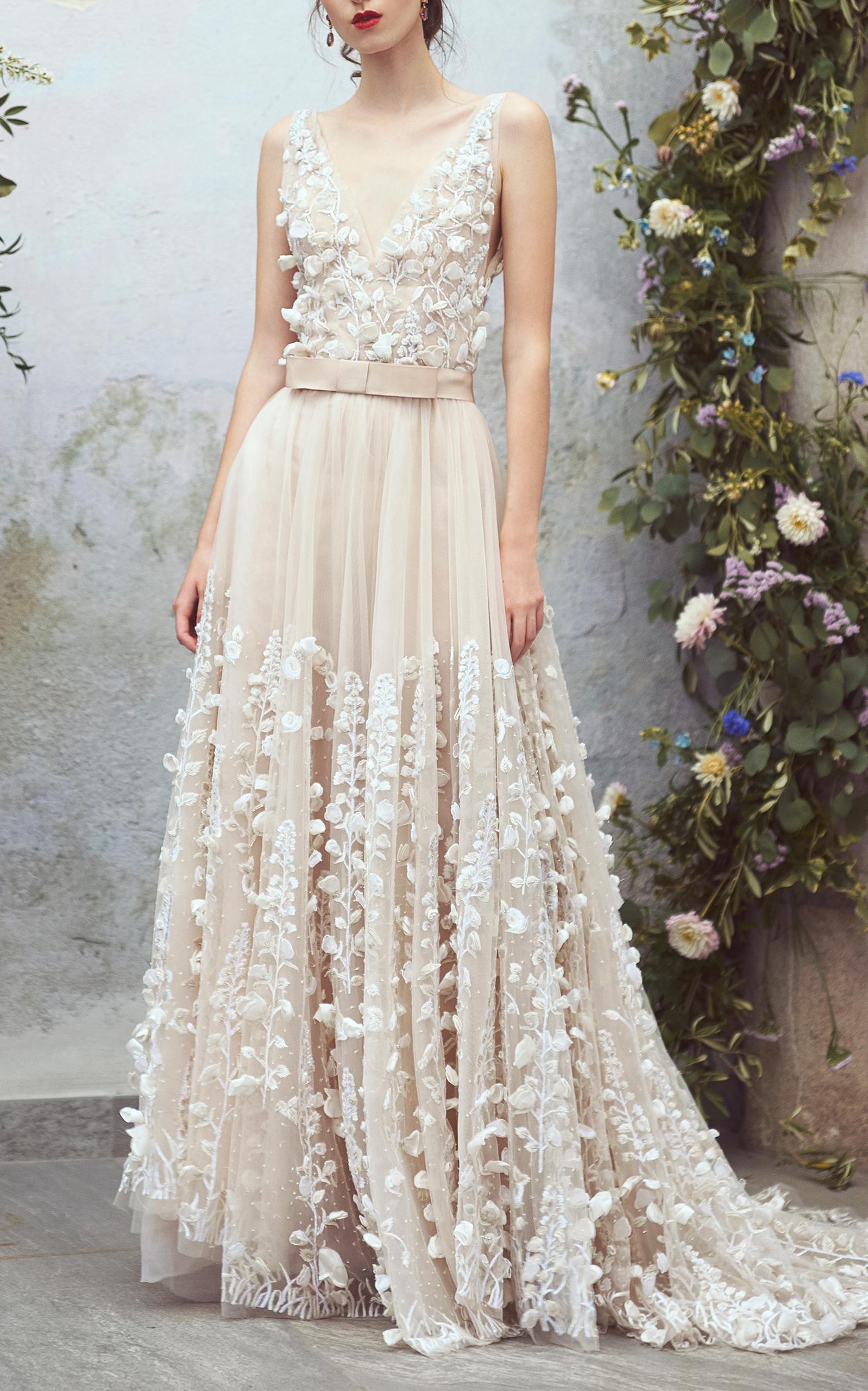35e069edf8 Organdy Floral Embroidered Ball Gown by Luisa Beccaria   Moda Operandi