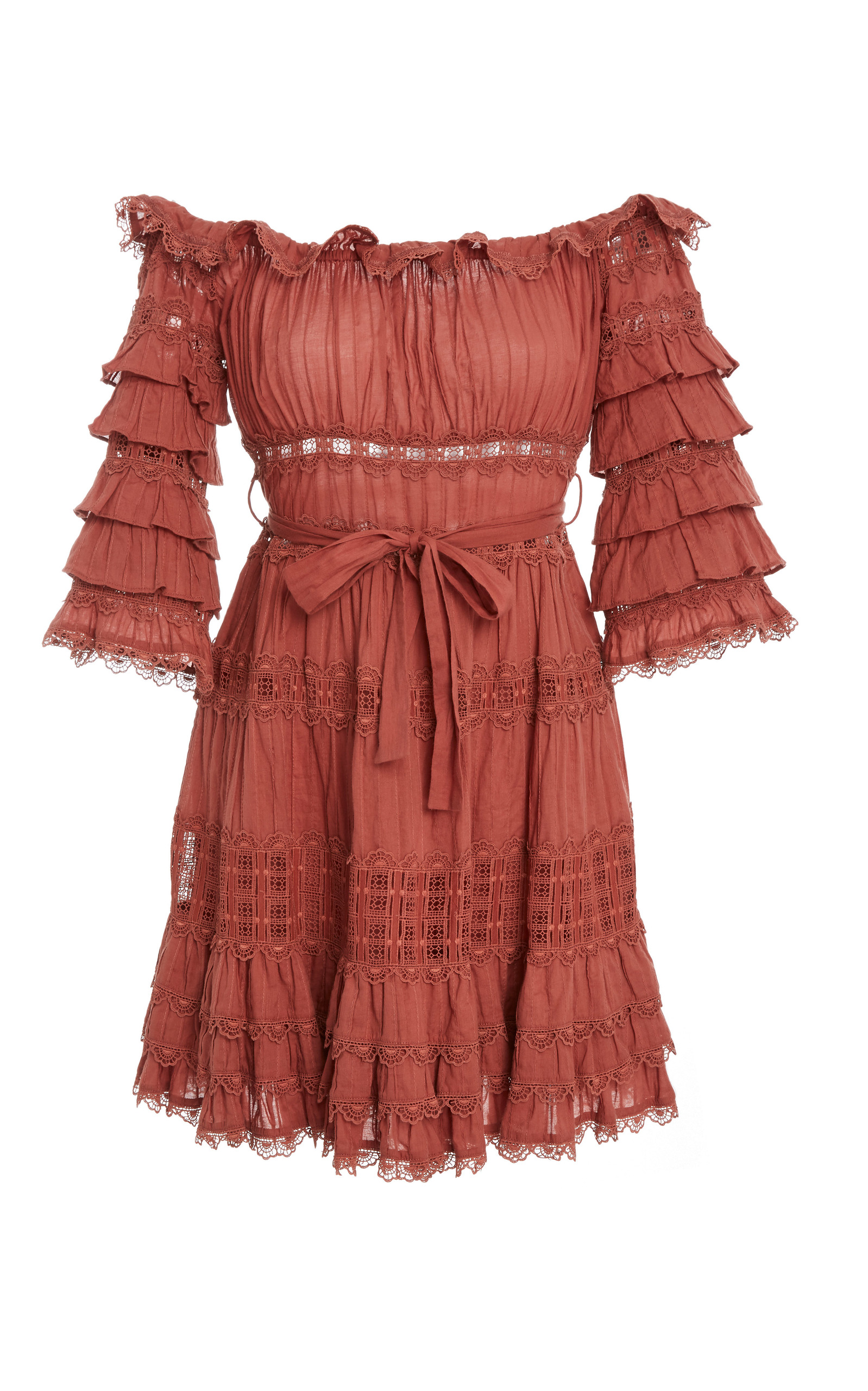cosair frill tier long dress - Pink & Purple Zimmermann VfrX24a