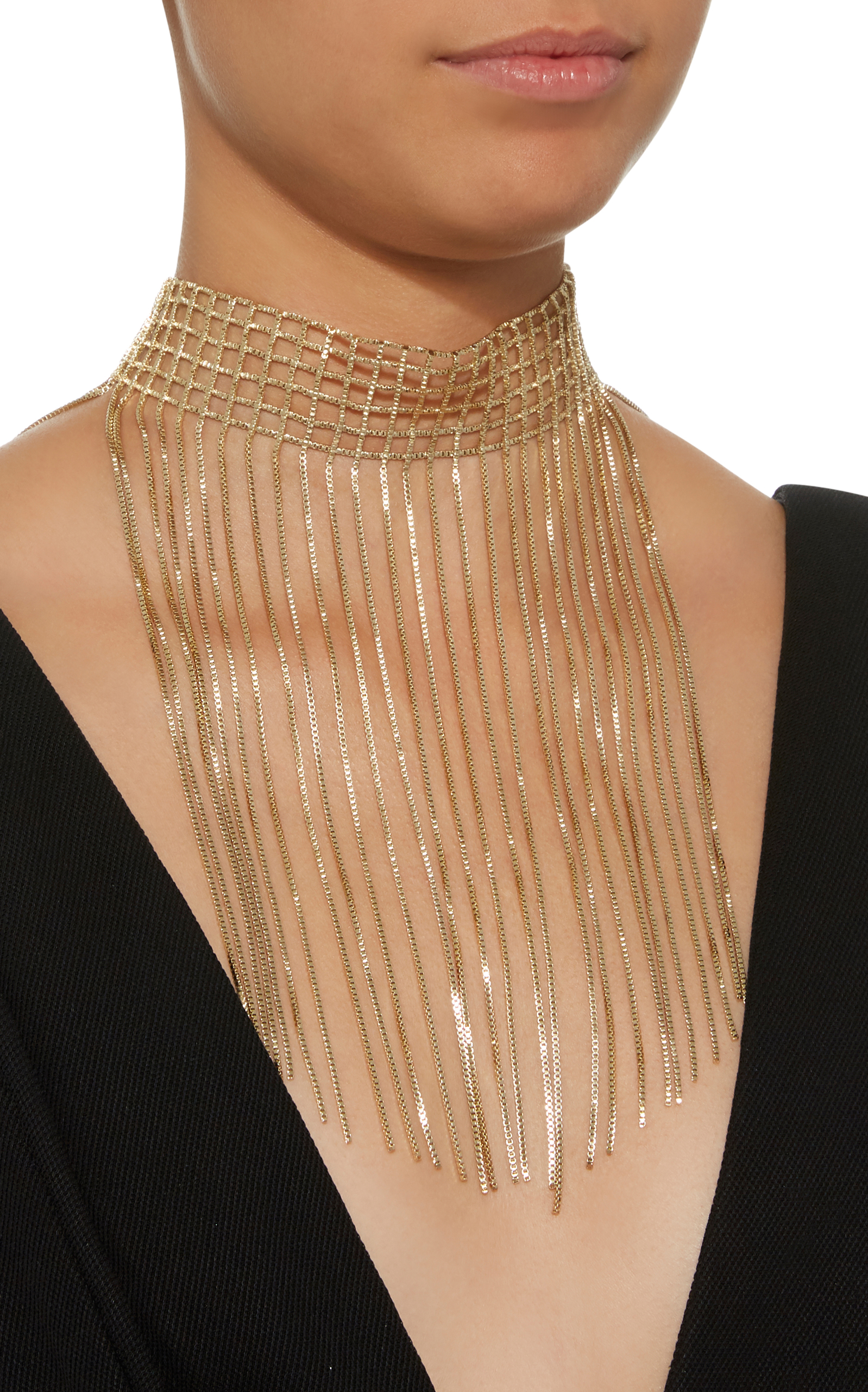 Rosantica Aquilone Fringed Gold-Tone Necklace JNGLd