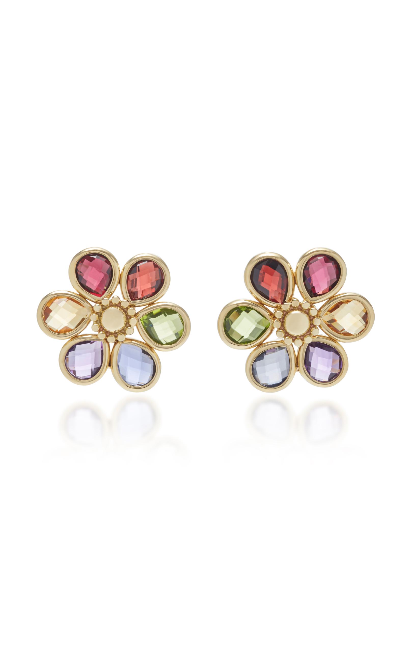 Bahina 18K Gold Multi-Stoned Stud Earrings