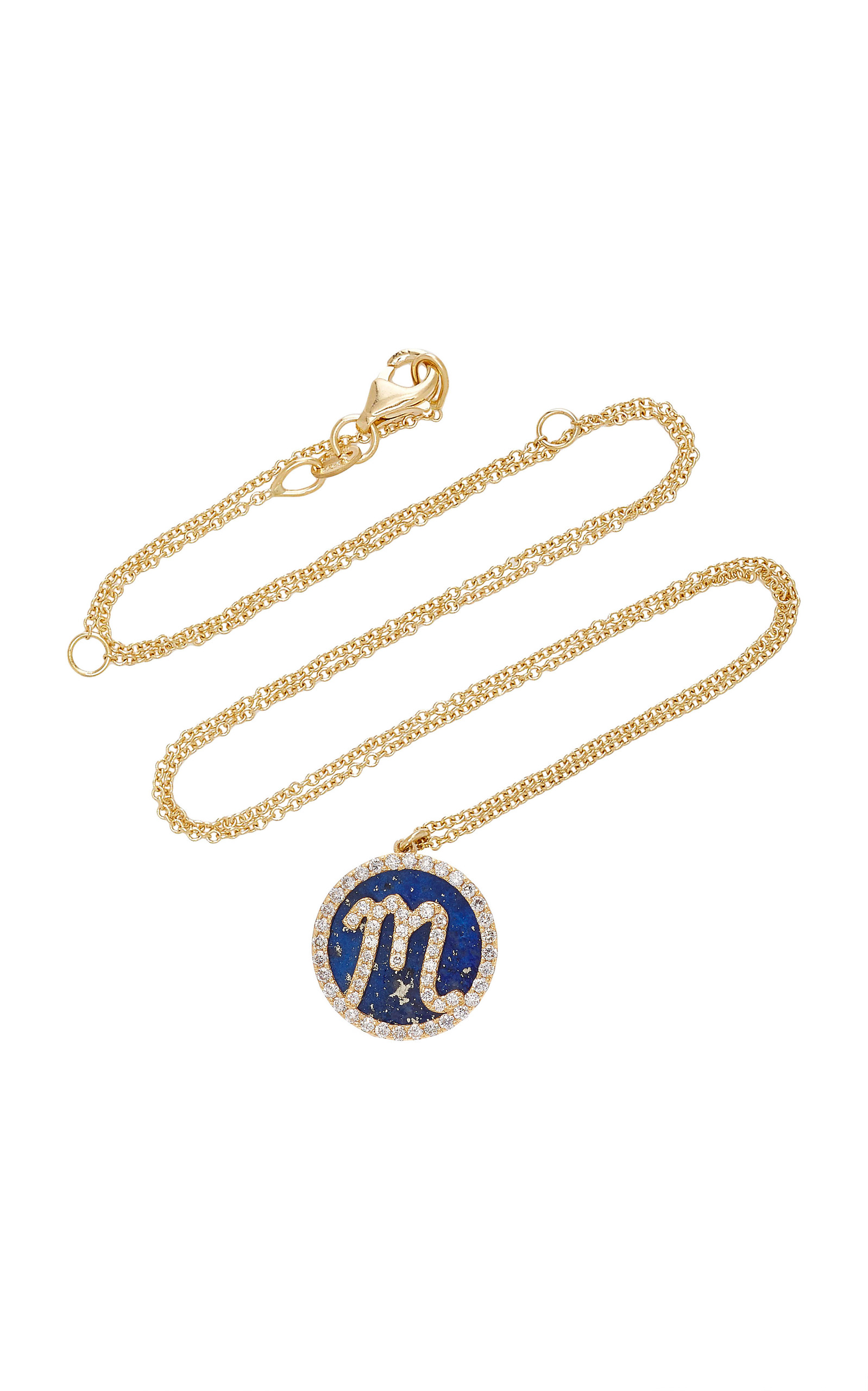 NAMES BY NOUSH M'O EXCLUSIVE: TREASURE DISK ROMAN INITIAL NECKLACE WITH LAPIS LAZULI GEMSTONE
