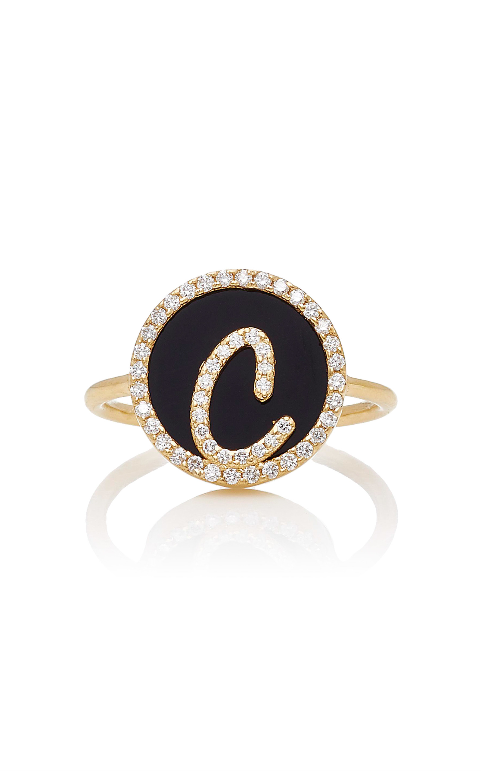 NAMES BY NOUSH M'O EXCLUSIVE: TREASURE DISK ROMAN INITIAL RING WITH ONYX GEMSTONE
