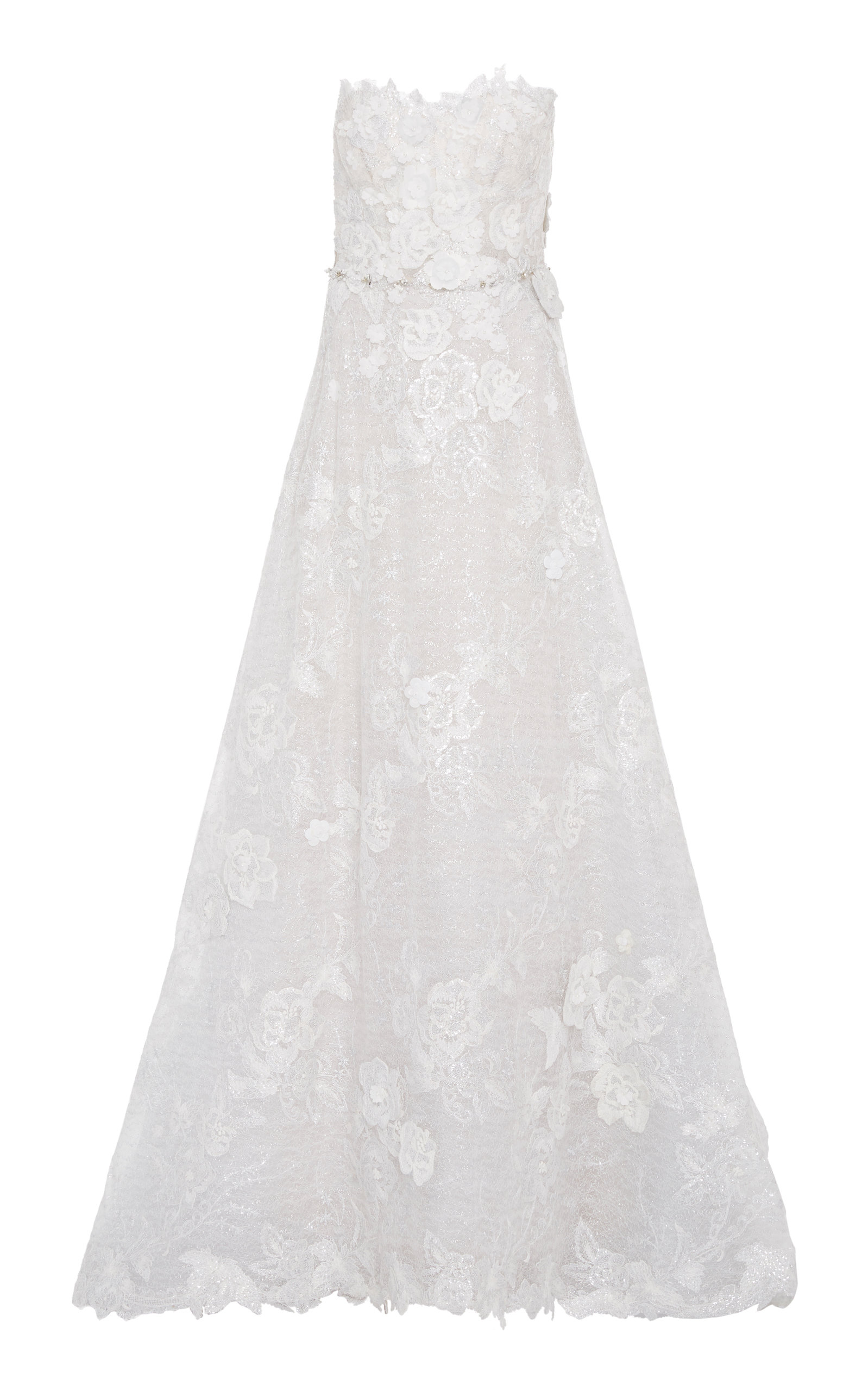 MIRA ZWILLINGER Ashalia Floral-Embellished Gown in White