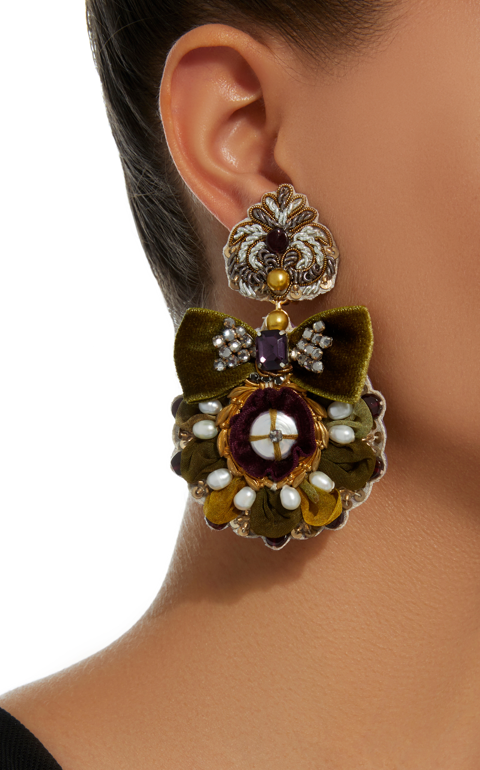 14K Gold-Plated Mother of Pearl and Crystal Earrings Ranjana Khan iDNt7pmNKY