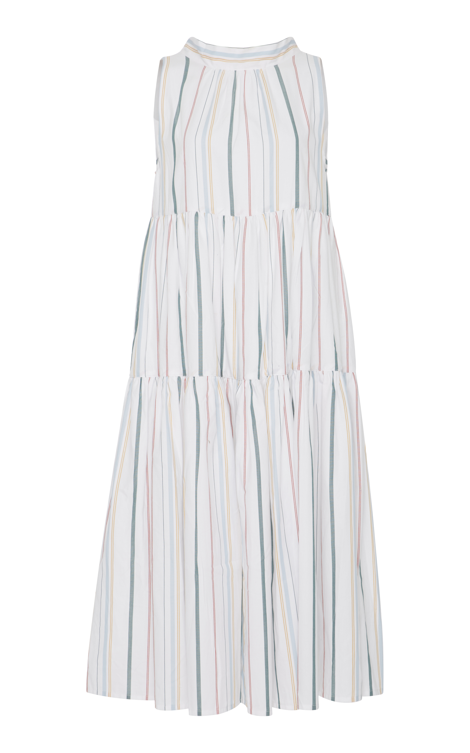 Asceno Mixed Stripe Long Neck Tie Dress