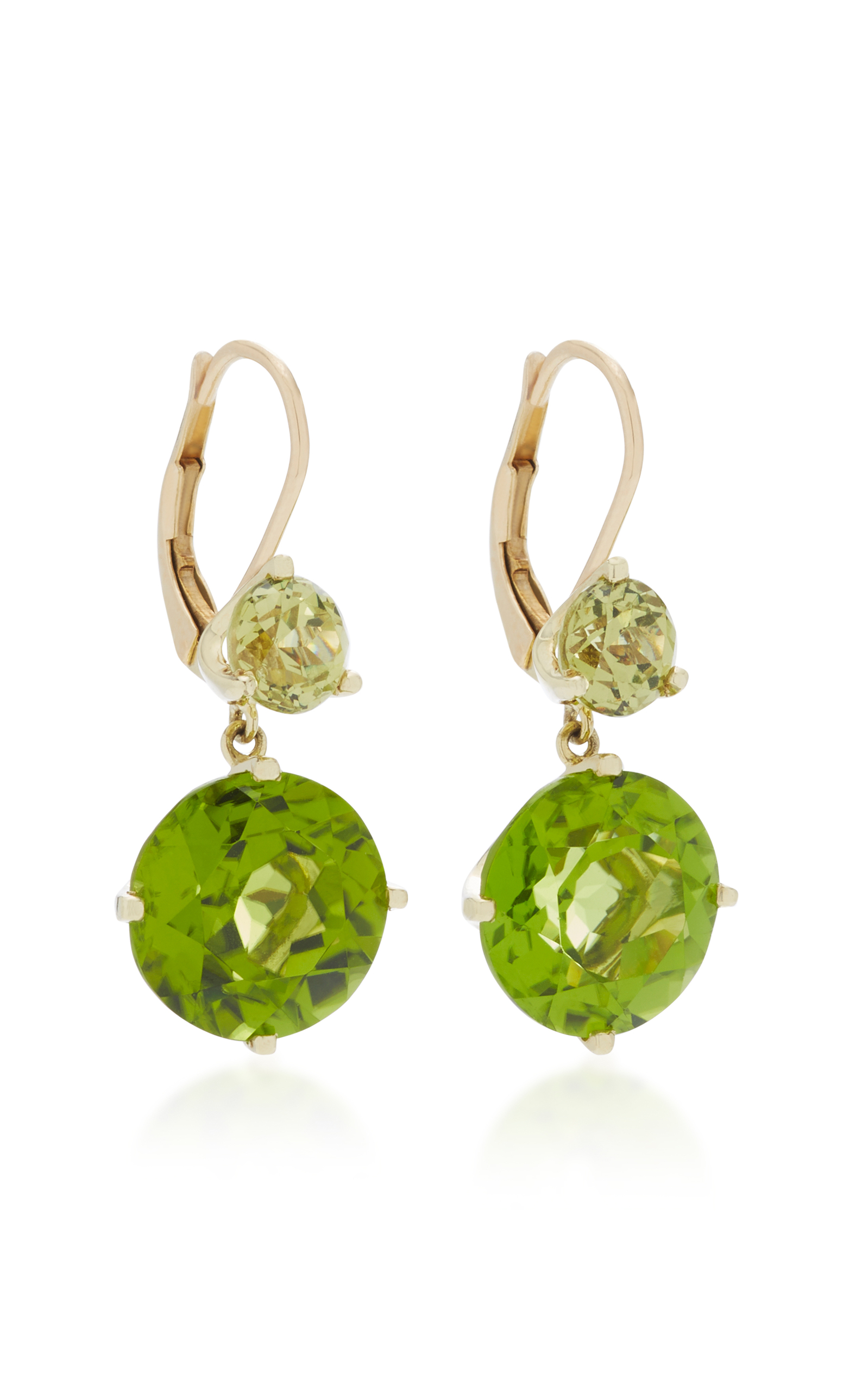 14K Gold Garnet and Peridot Drop Earrings by Jane