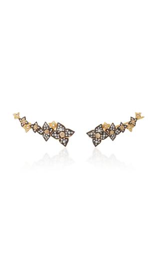SORELLINA   Sorellina 18K Gold Diamond Flower Wing Stud Earrings   Goxip