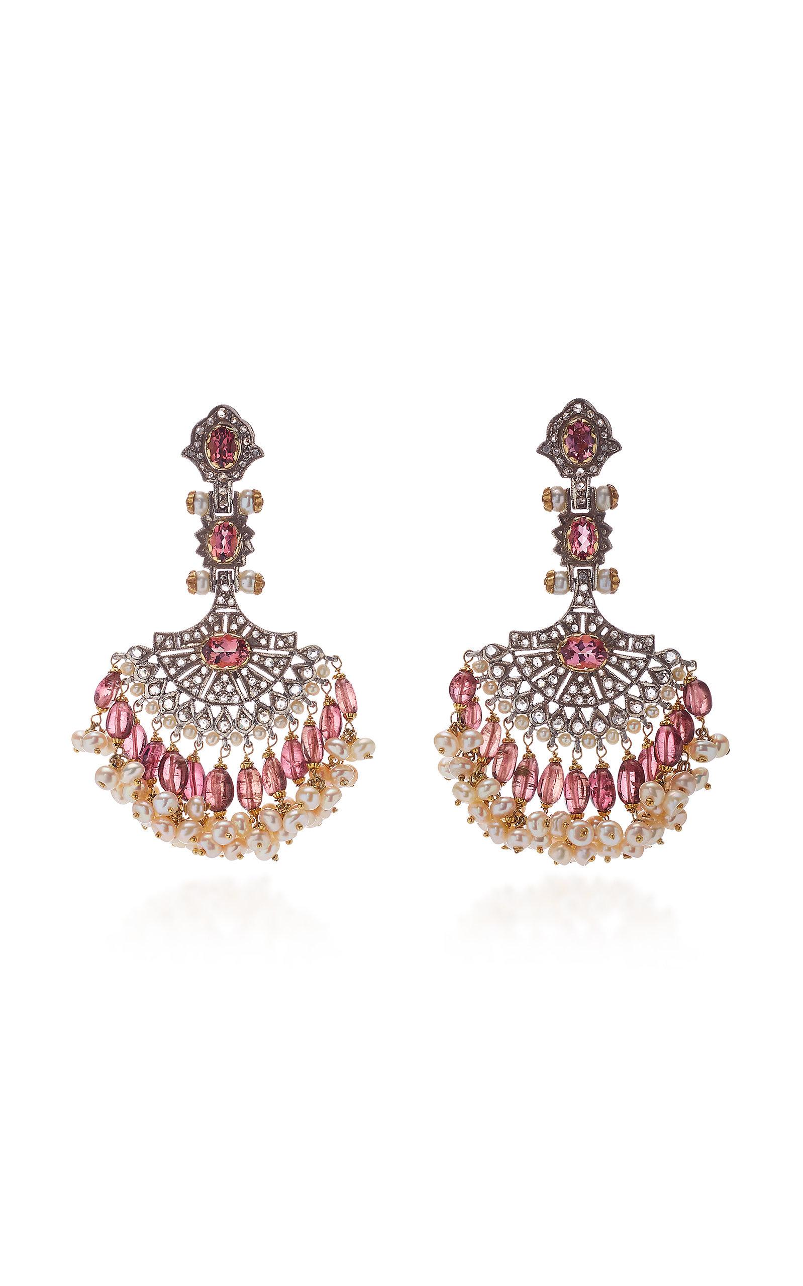 SANJAY KASLIWAL 14K Gold Indorussian Multi-Stone Fan Earrings in Pink