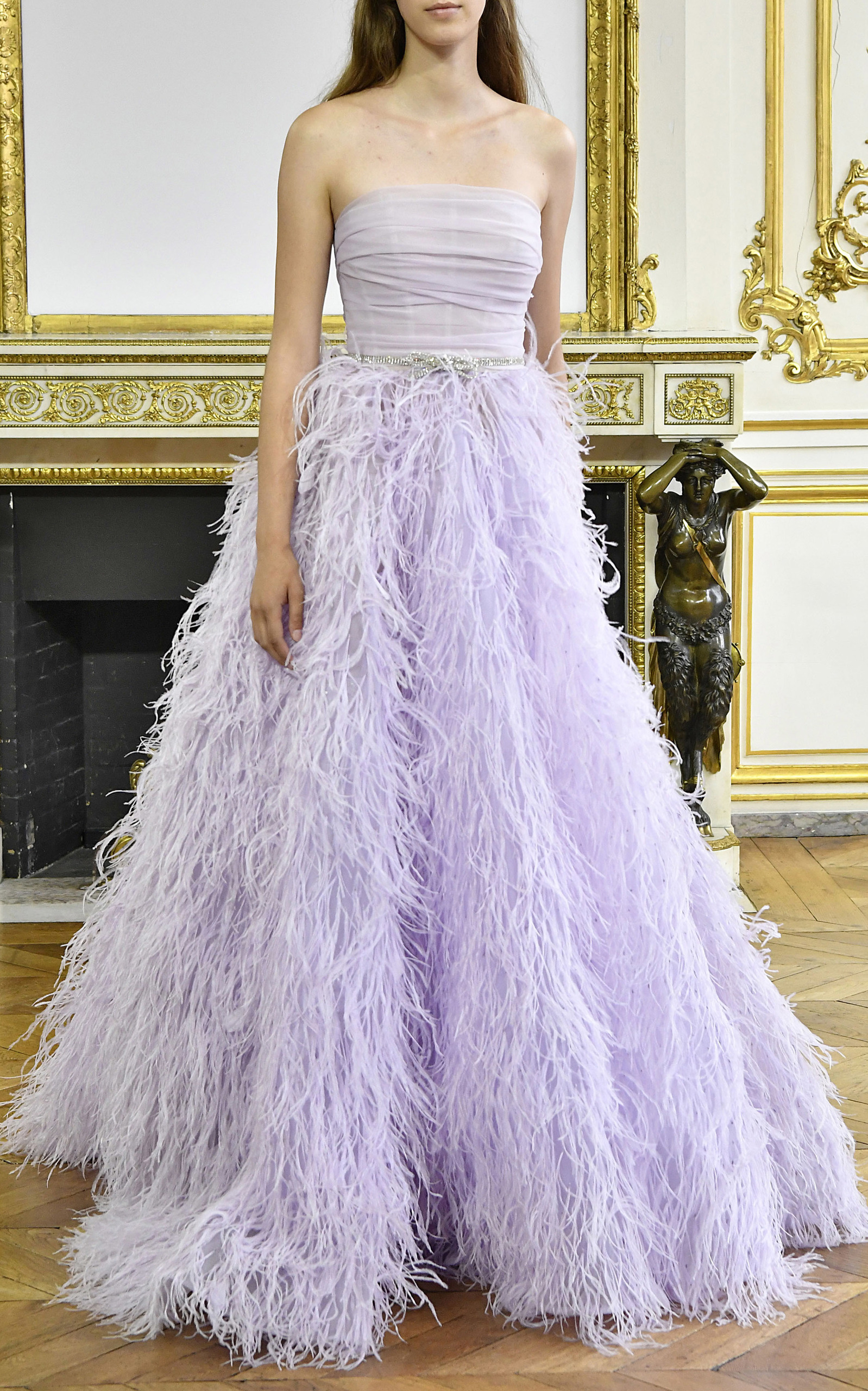 Feather Strapless Ball Gown by Monique Lhuillier | Moda Operandi