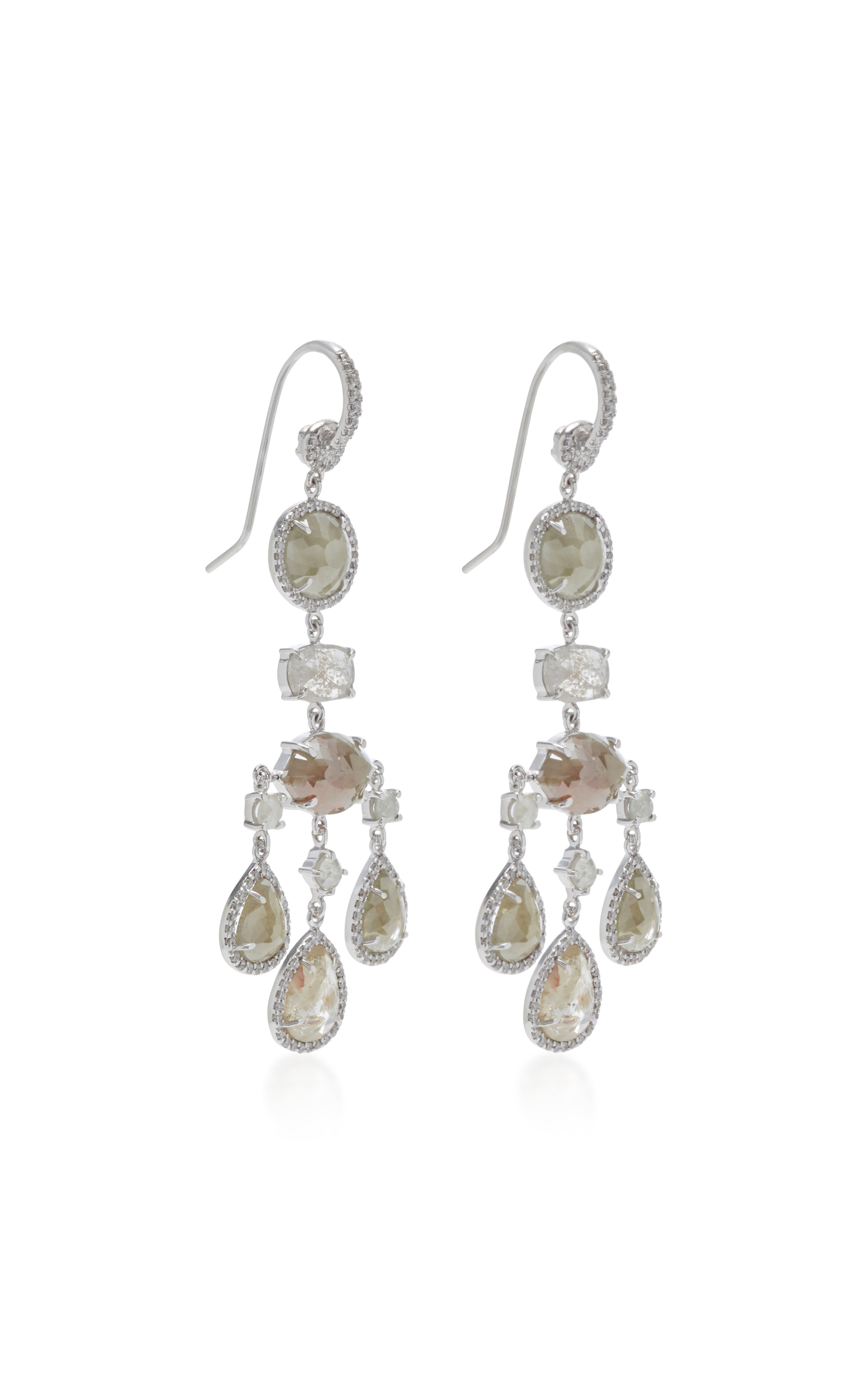 18K White Gold and Diamond Chandelier Earrings by Nina | Moda Operandi