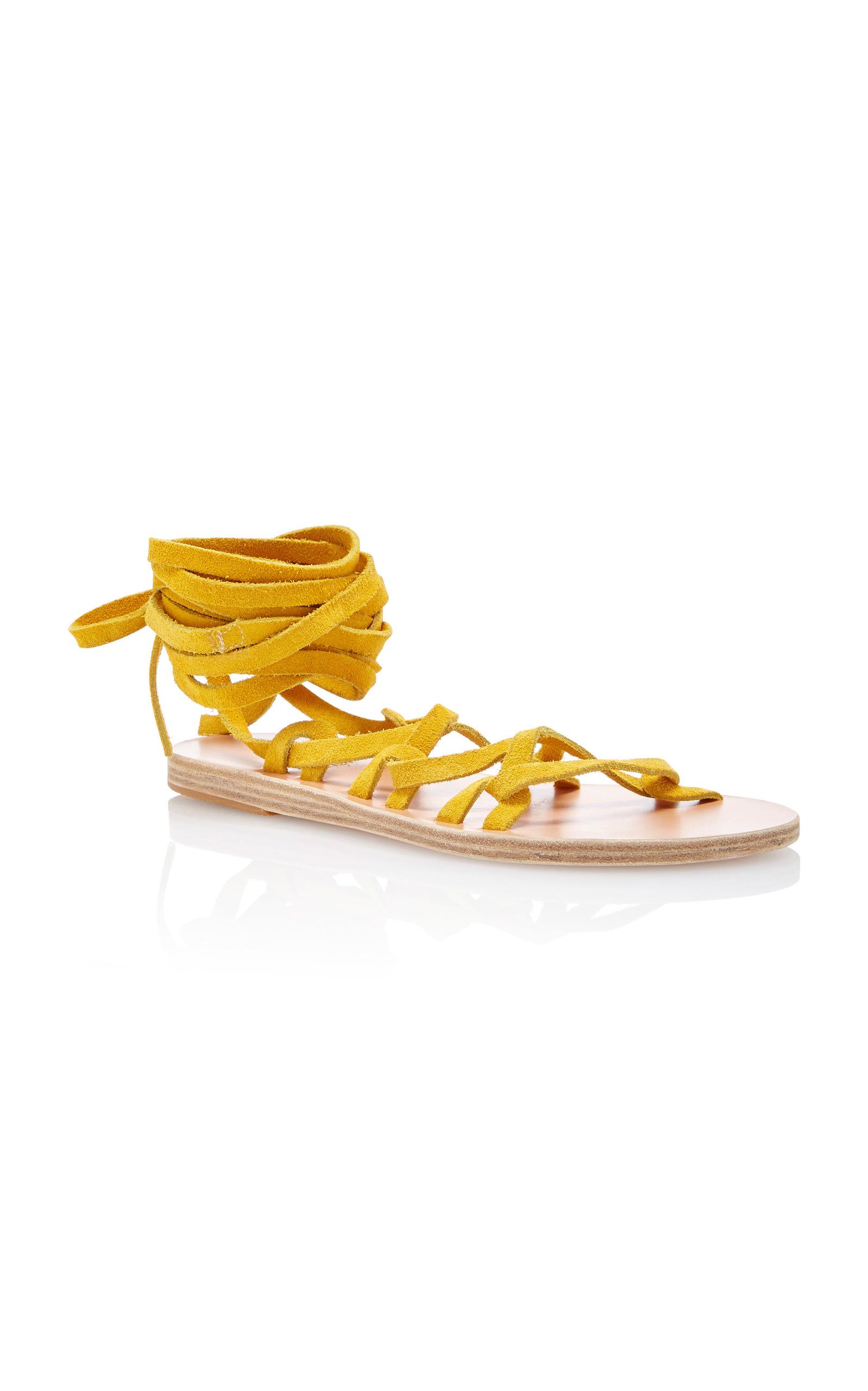 Anciennes Sandales Grecques Cravate Simplement Sandales Kariatida - Jaune Et Orange MC2rEx