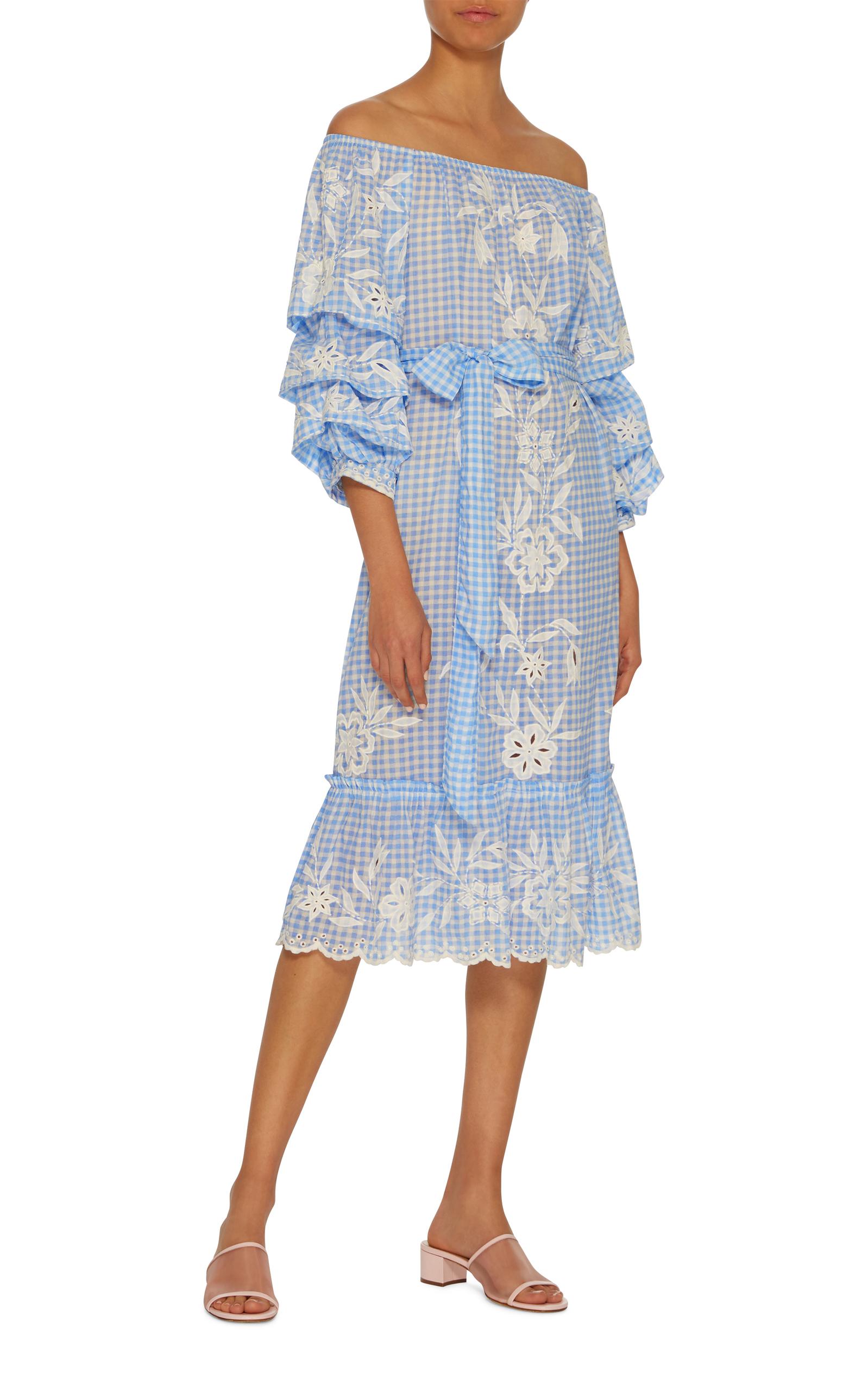 03a3b6d2c5 Puff Sleeve Flower Embroidered Dress by Juliet Dunn | Moda Operandi