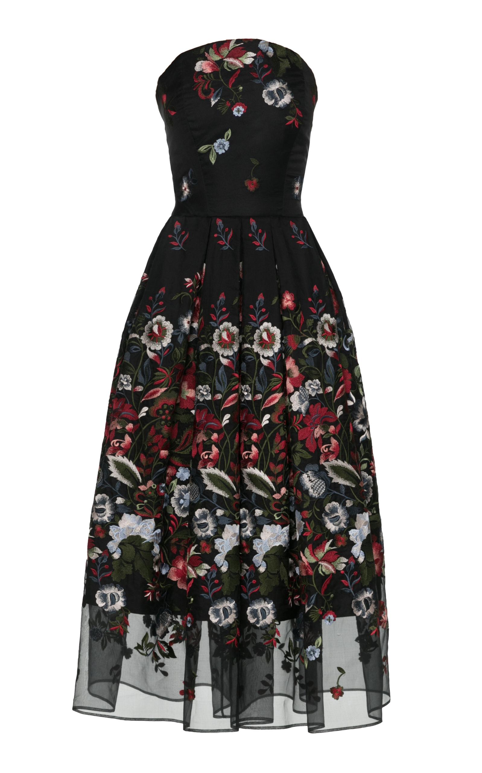 cbef6c43af17f Pirova Strapless Tea Length Dress by Lena Hoschek | Moda Operandi