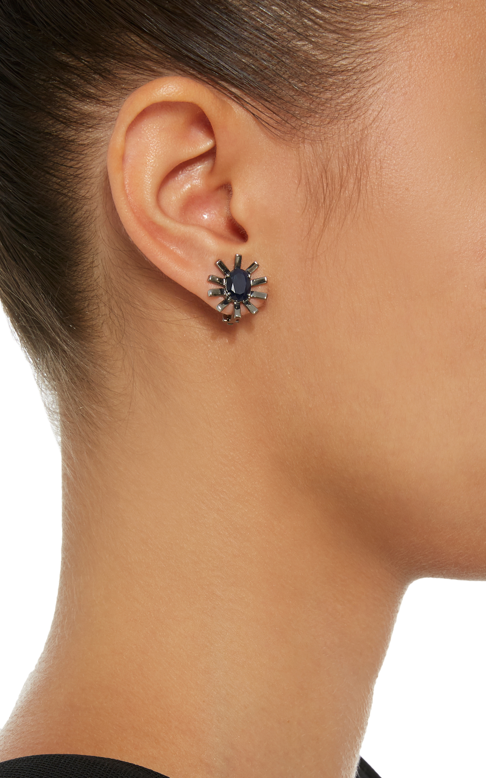 18K White Gold and Black Rhodium Sapphire Earrings Jack Vartanian gJamTAxVh
