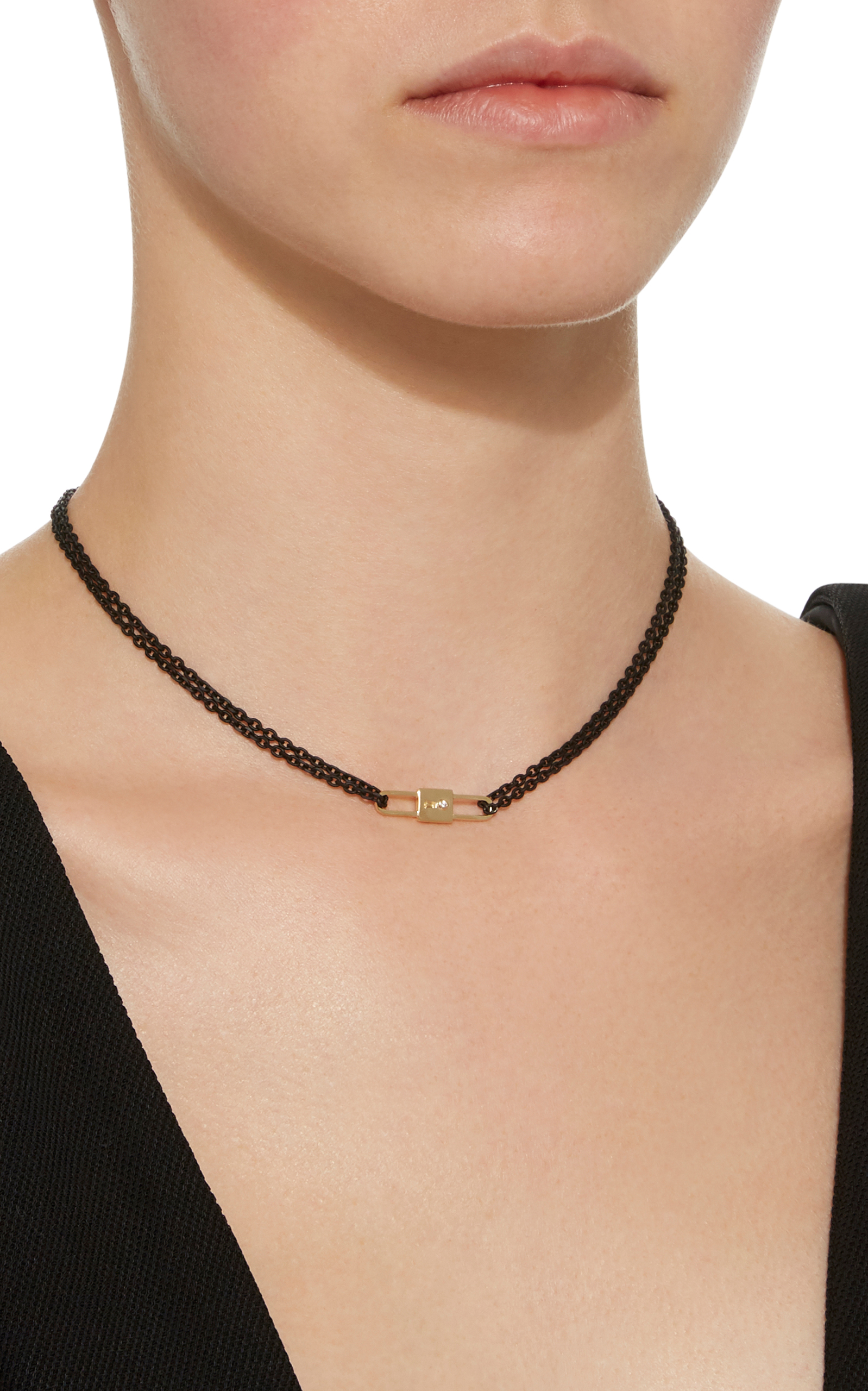 18K Yellow Gold Double Sided Lock Charm and Black Lacquered Stainless Steel Chain Bracelet Monica Rich Kosann 7QgY2t