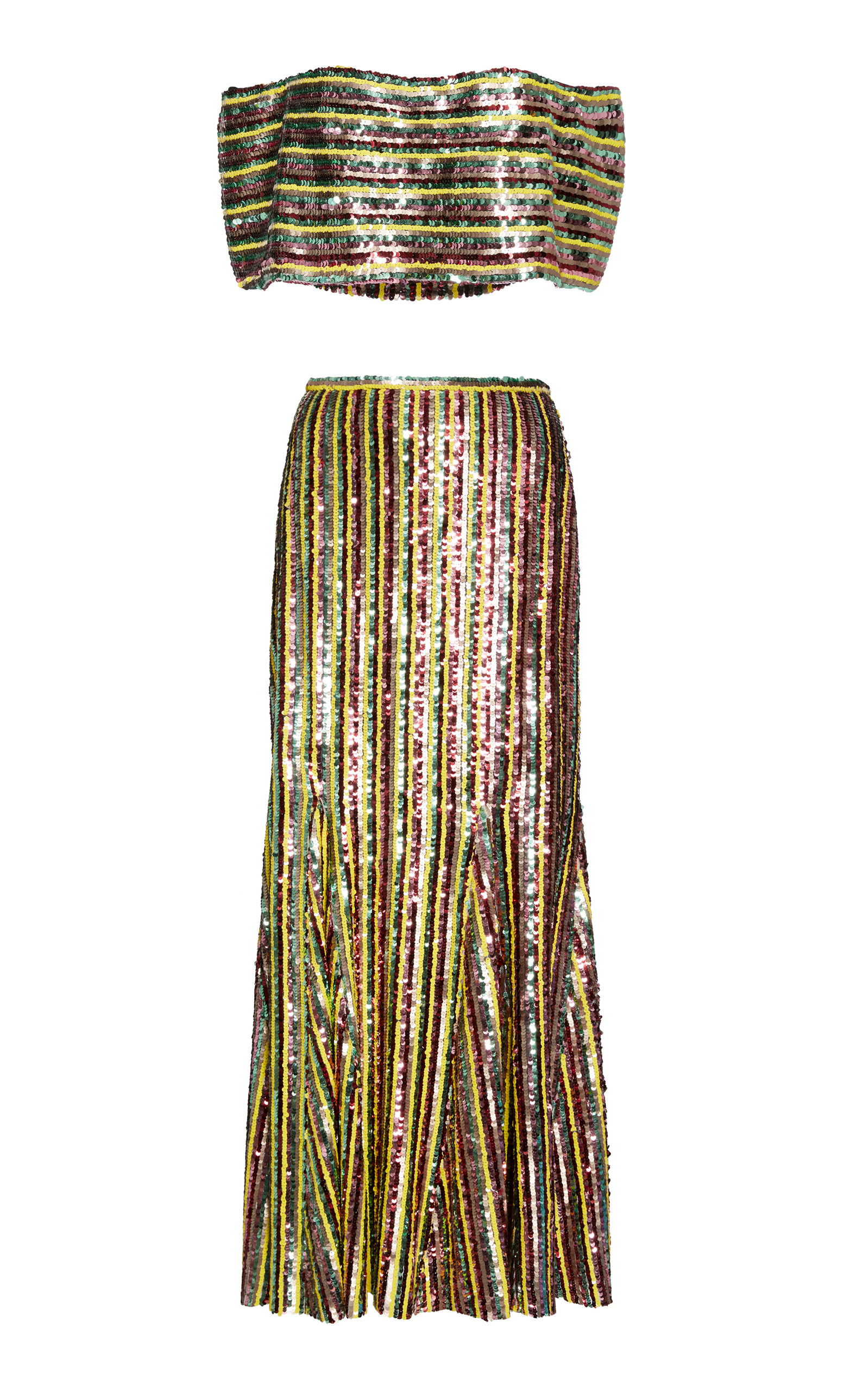 SANDRA MANSOUR M'O Exclusive Beaded Tulle Top And Skirt Set in Stripe