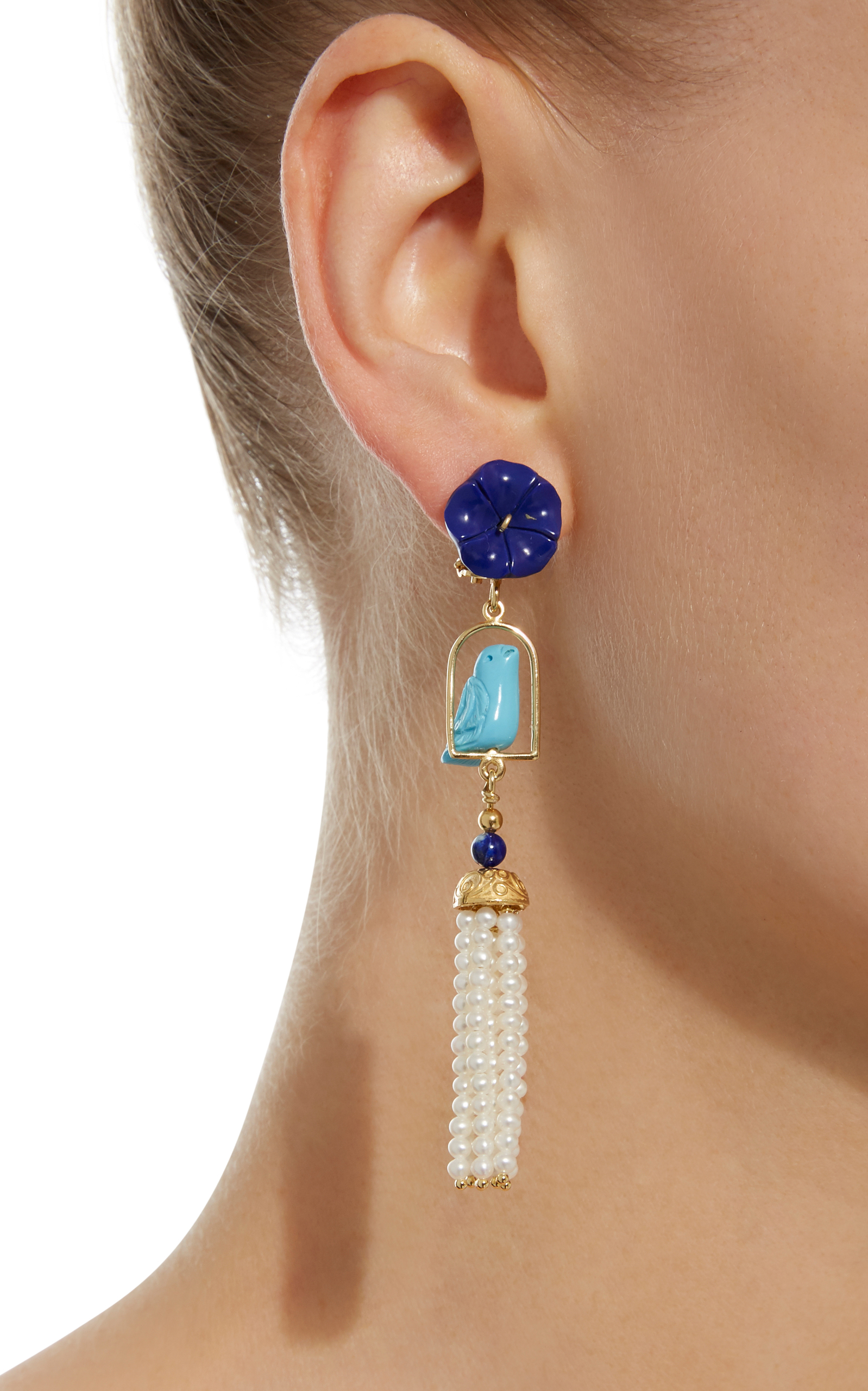 Swingers 18K Yellow Gold Vermeil Lapis Turquoise and Pearl Earrings Of Rare Origin ao2bmuhYX0