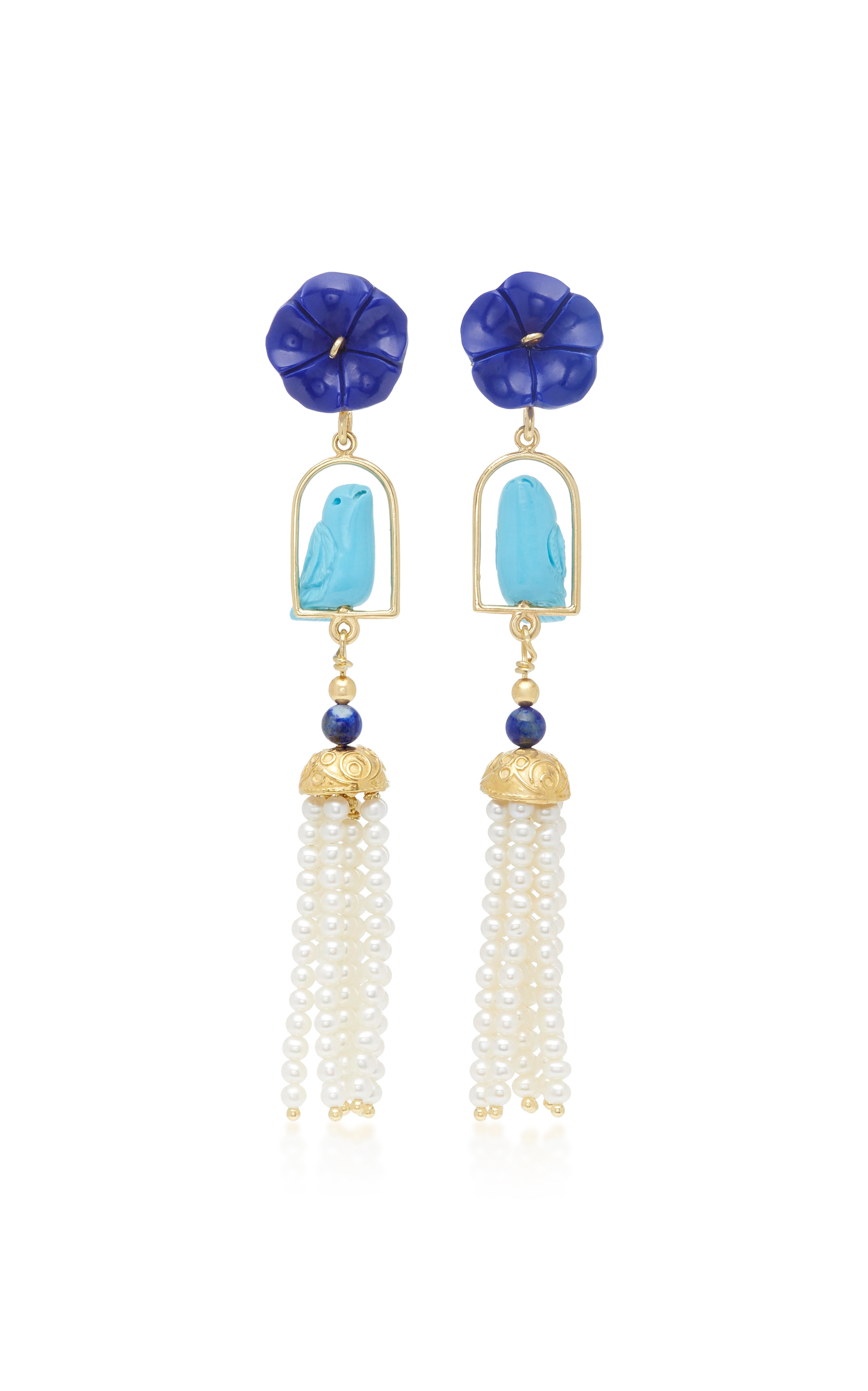 OF RARE ORIGIN SWINGERS 18K YELLOW GOLD VERMEIL LAPIS TURQUOISE AND PEARL EARRINGS