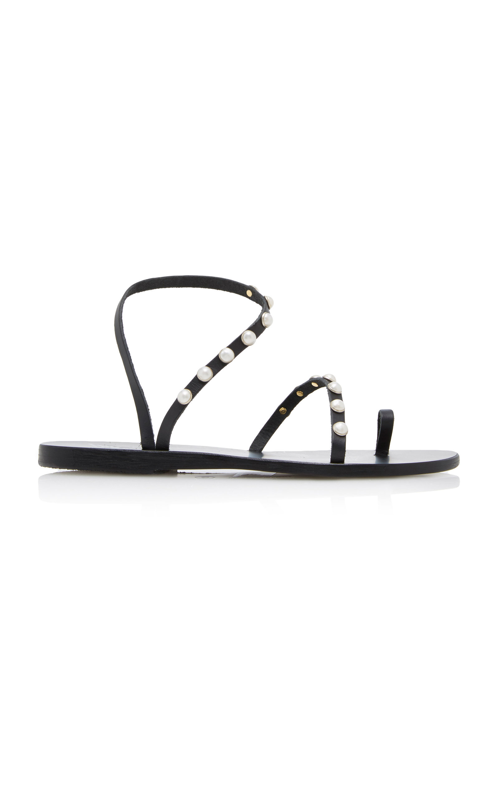 Apli Eleftheria Faux Pearl-embellished Leather Sandals - Black Ancient Greek Sandals EKXWseXf