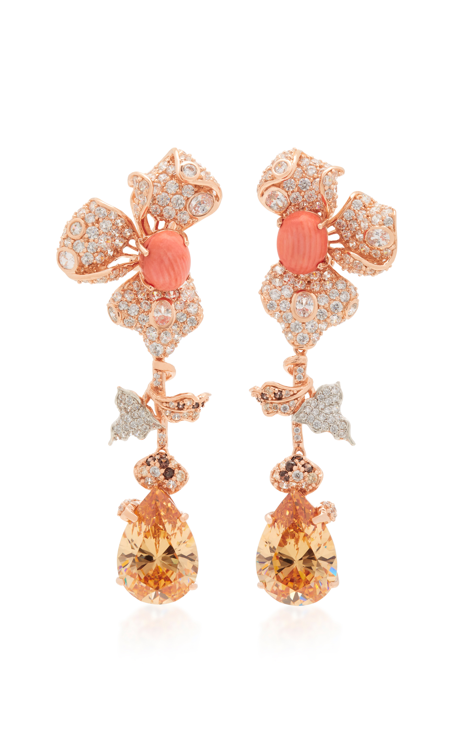 ANABELA CHAN 18K ROSE GOLD ORCHID CITRINE AND DIAMOND EARRINGS