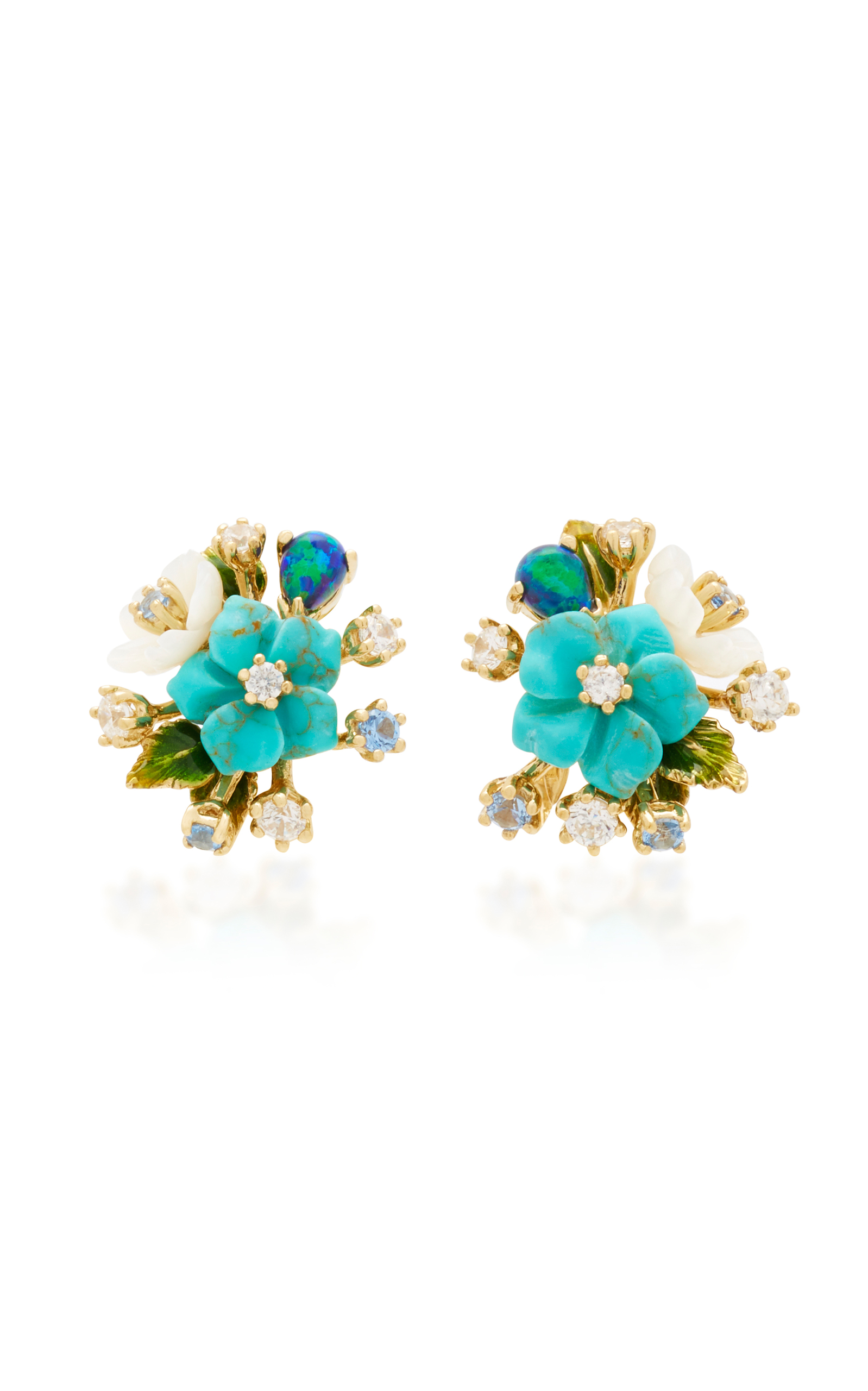 ANABELA CHAN 18K GOLD VERMEIL DIAMOND AND TURQUOISE BOUQUET EARRINGS