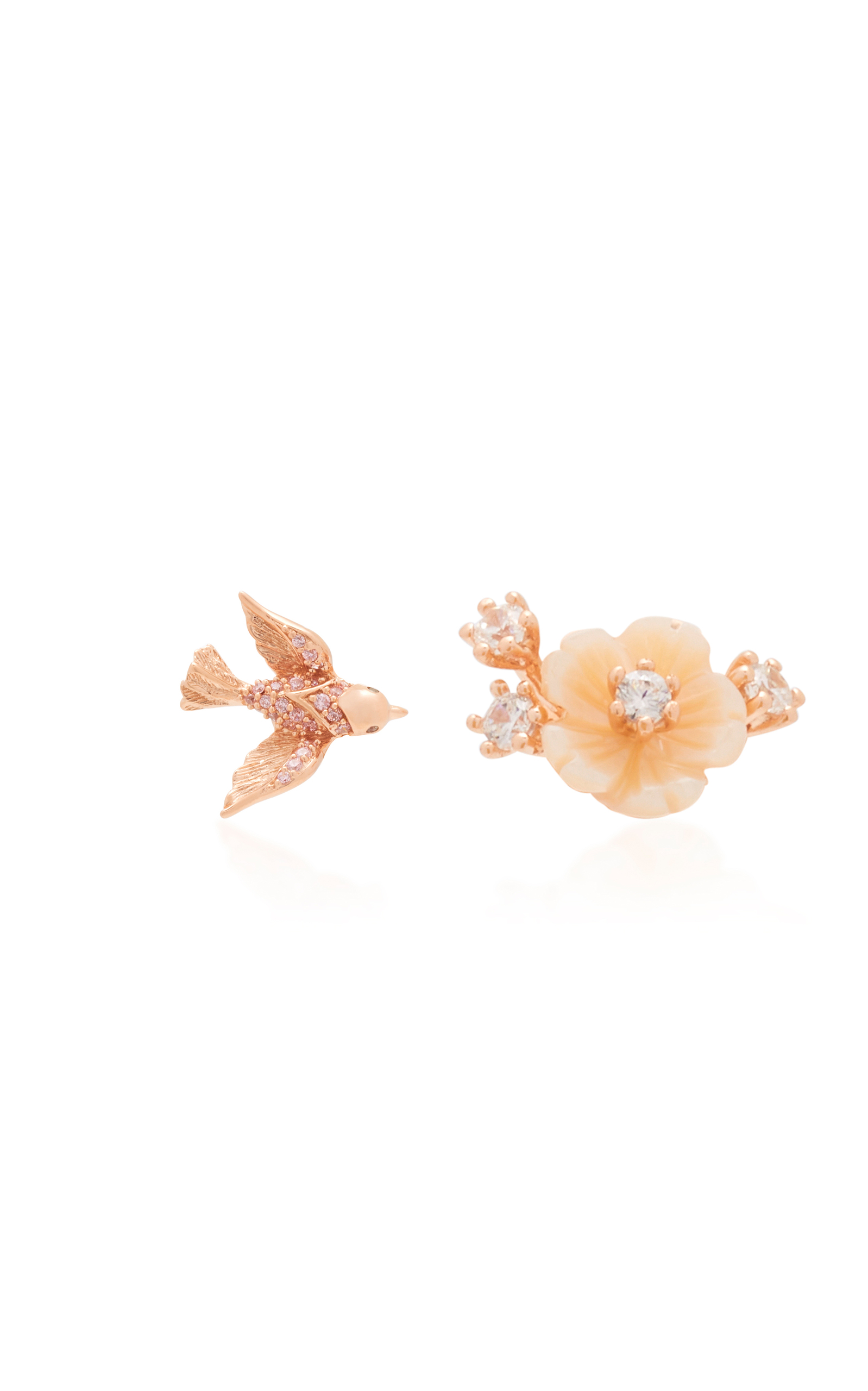 Anabela Chan ROSE SWALLOW MISMATCHED MOTHER OF PEARL STUD EARRINGS