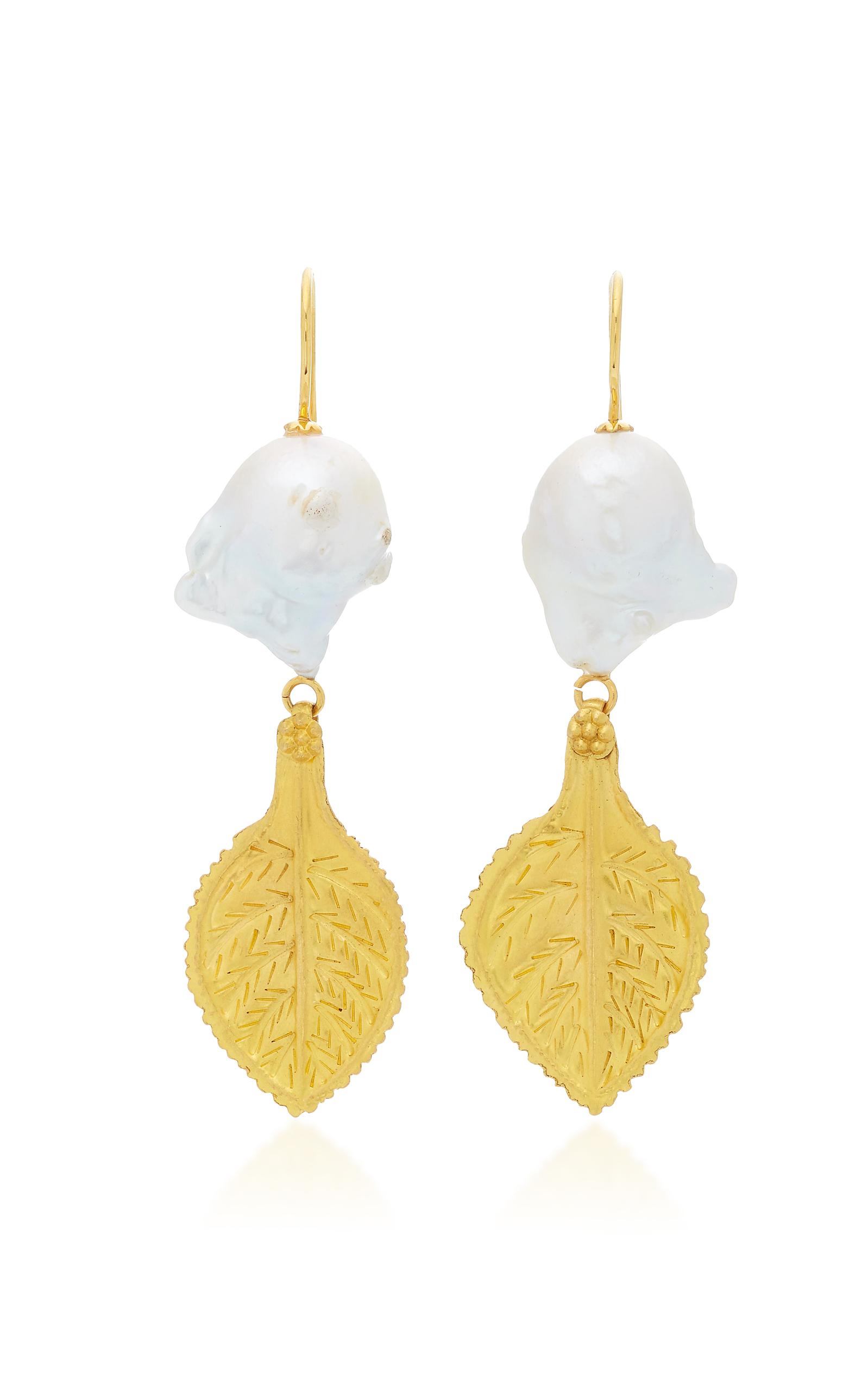 Ranjana Khan Accessories GOLD LEAF AND PEARL EARRINGS