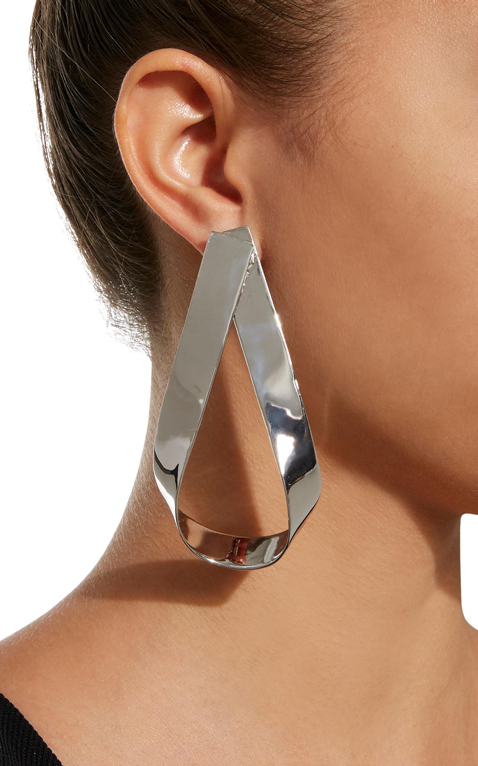 Script Doorknocker Silver Rhodium-Plated Earrings Jennifer Fisher lMla9