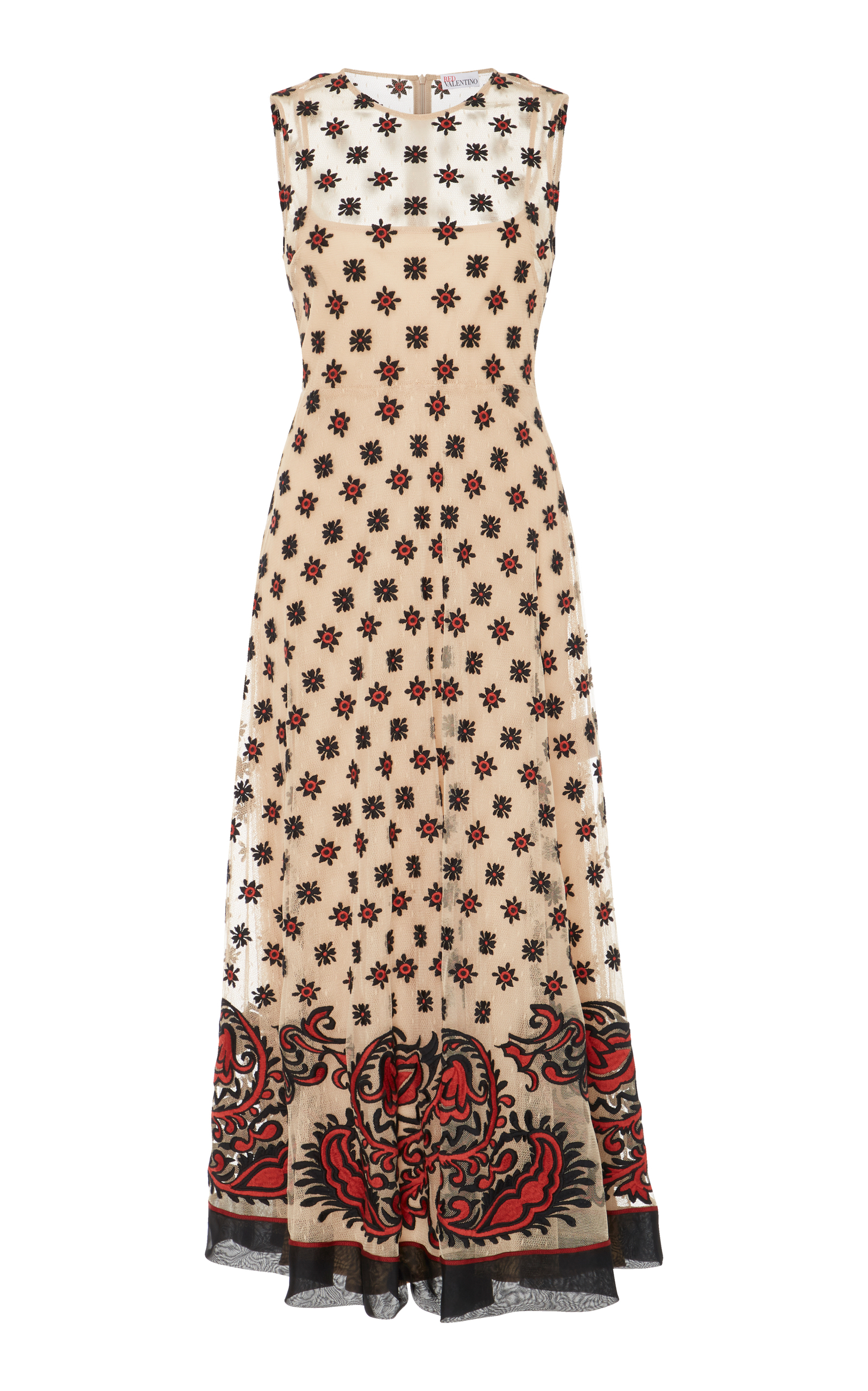 Bandana embroidered long dress Red Valentino