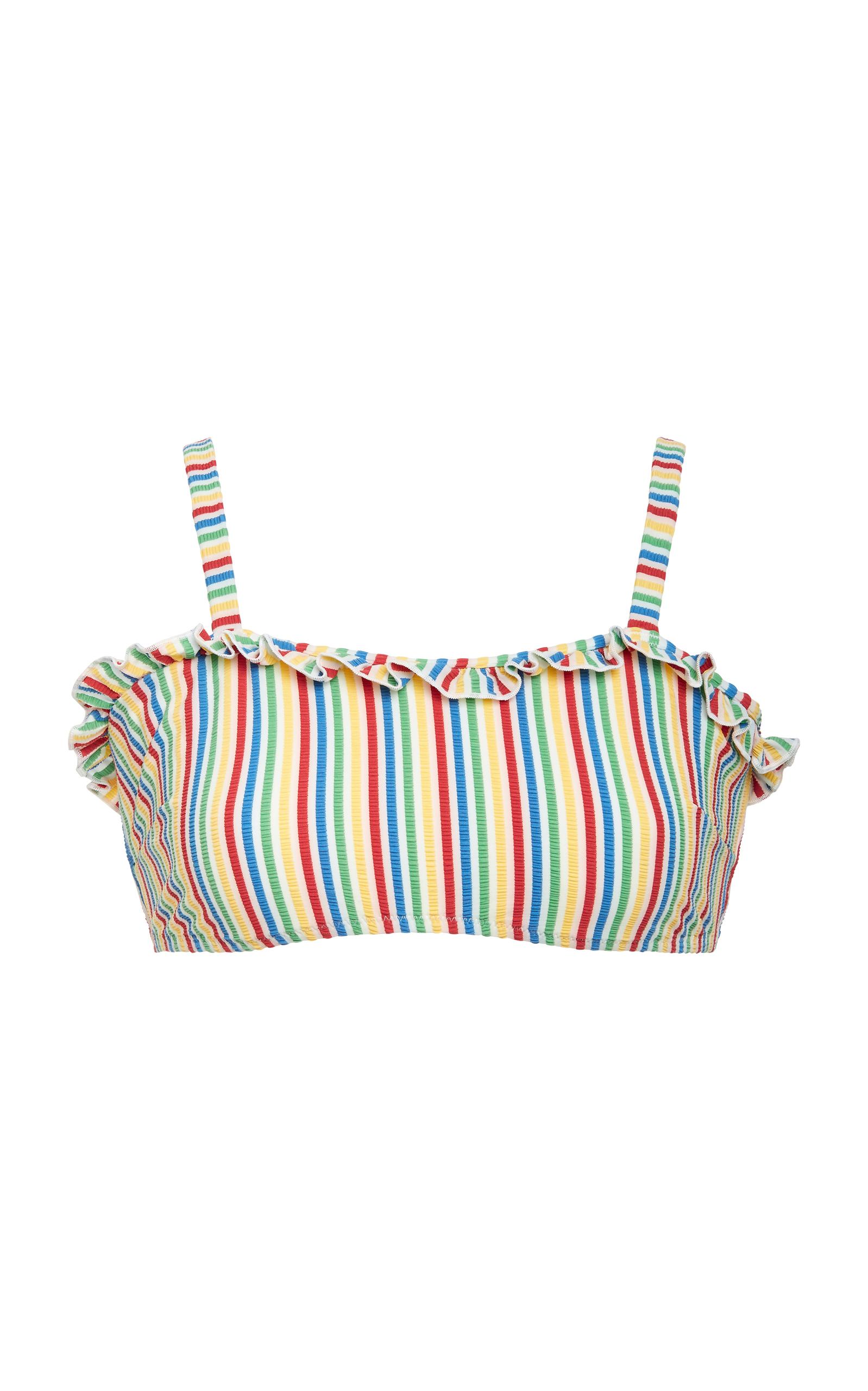 24361b9037 The Leslie Ruffled Bandeau Bikini Top by Solid & Striped   Moda Operandi