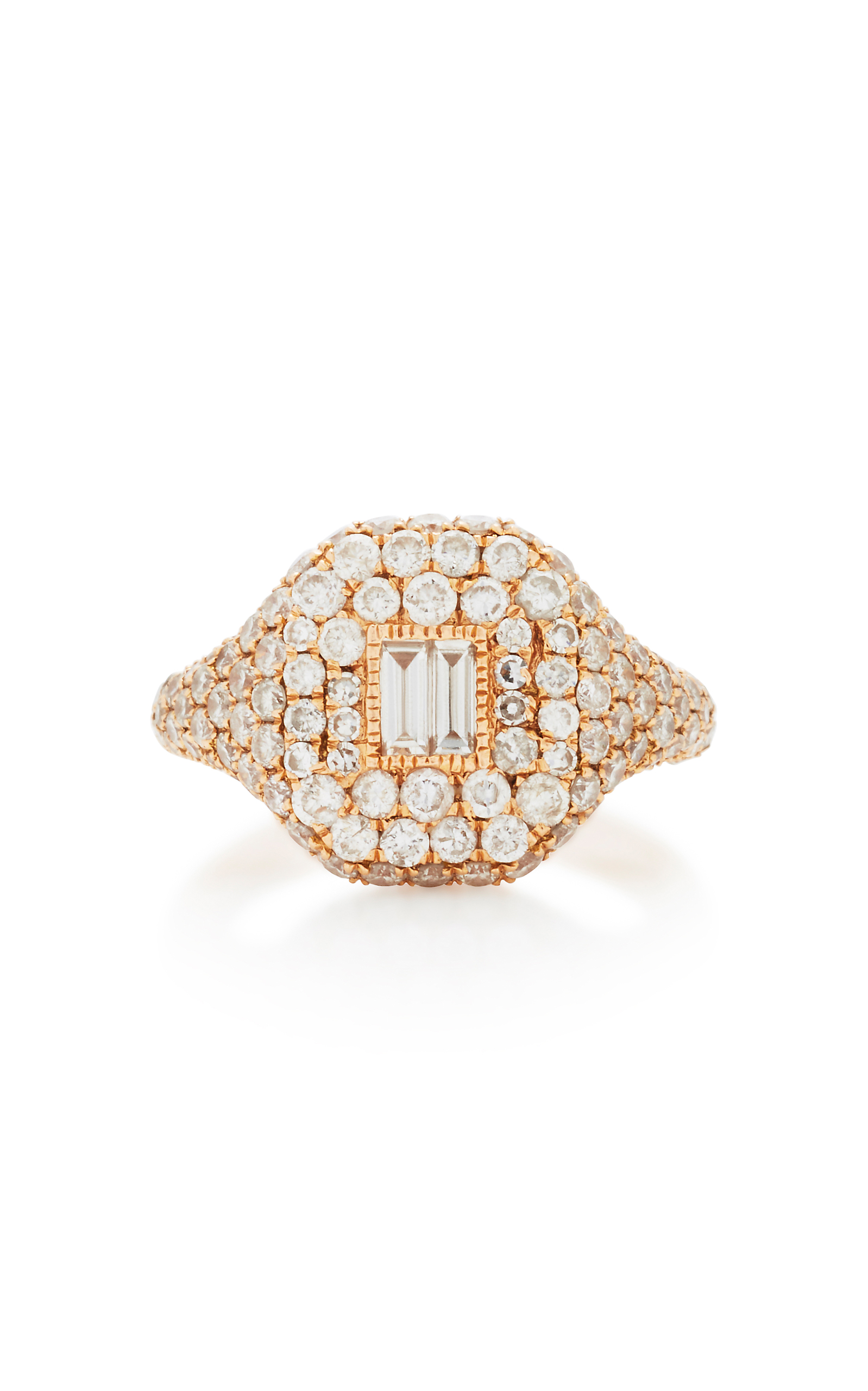 SHAY Pave Pinky Ring with Baguette Diamond Center