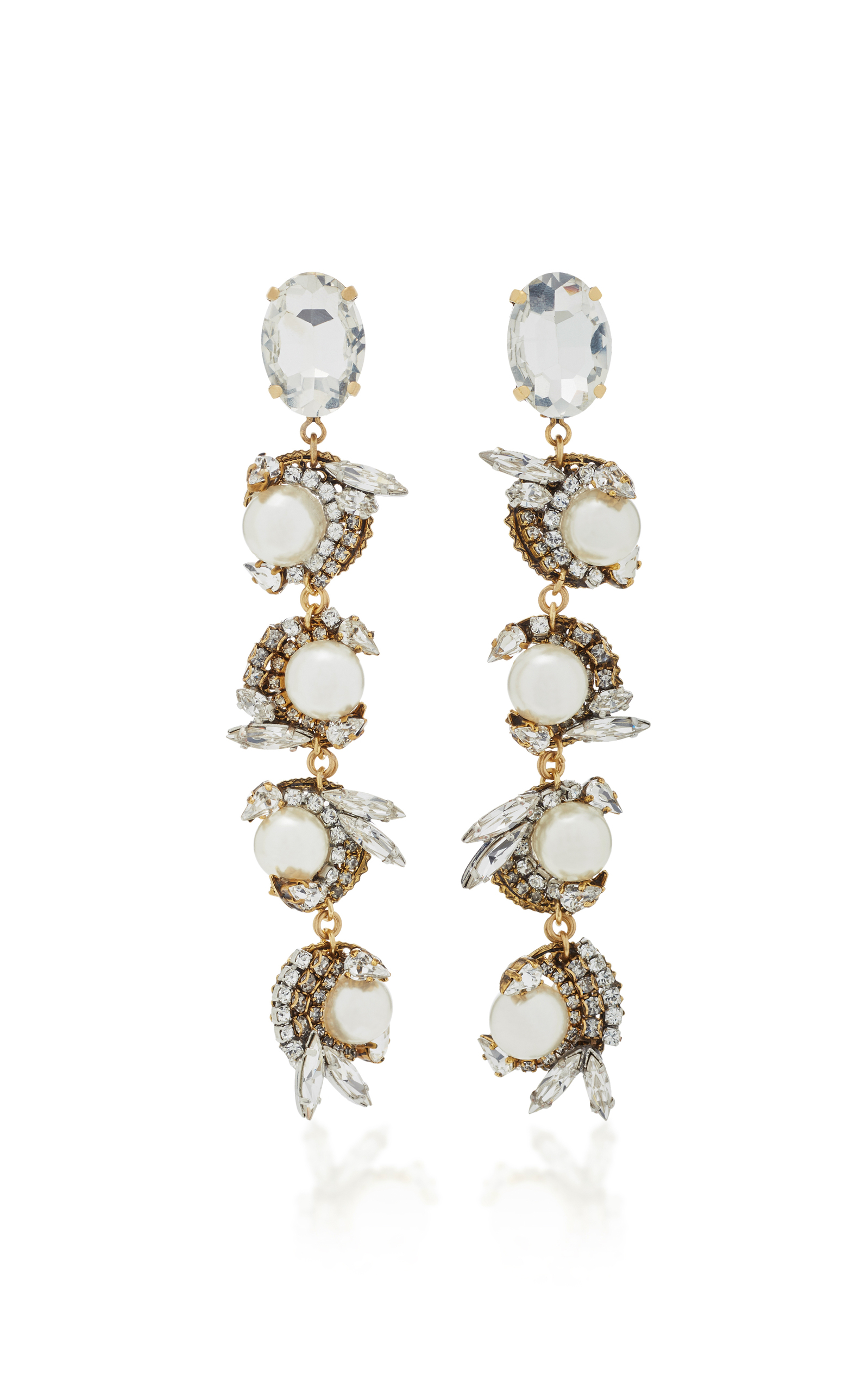 rj drop stones set gold choker earrings with