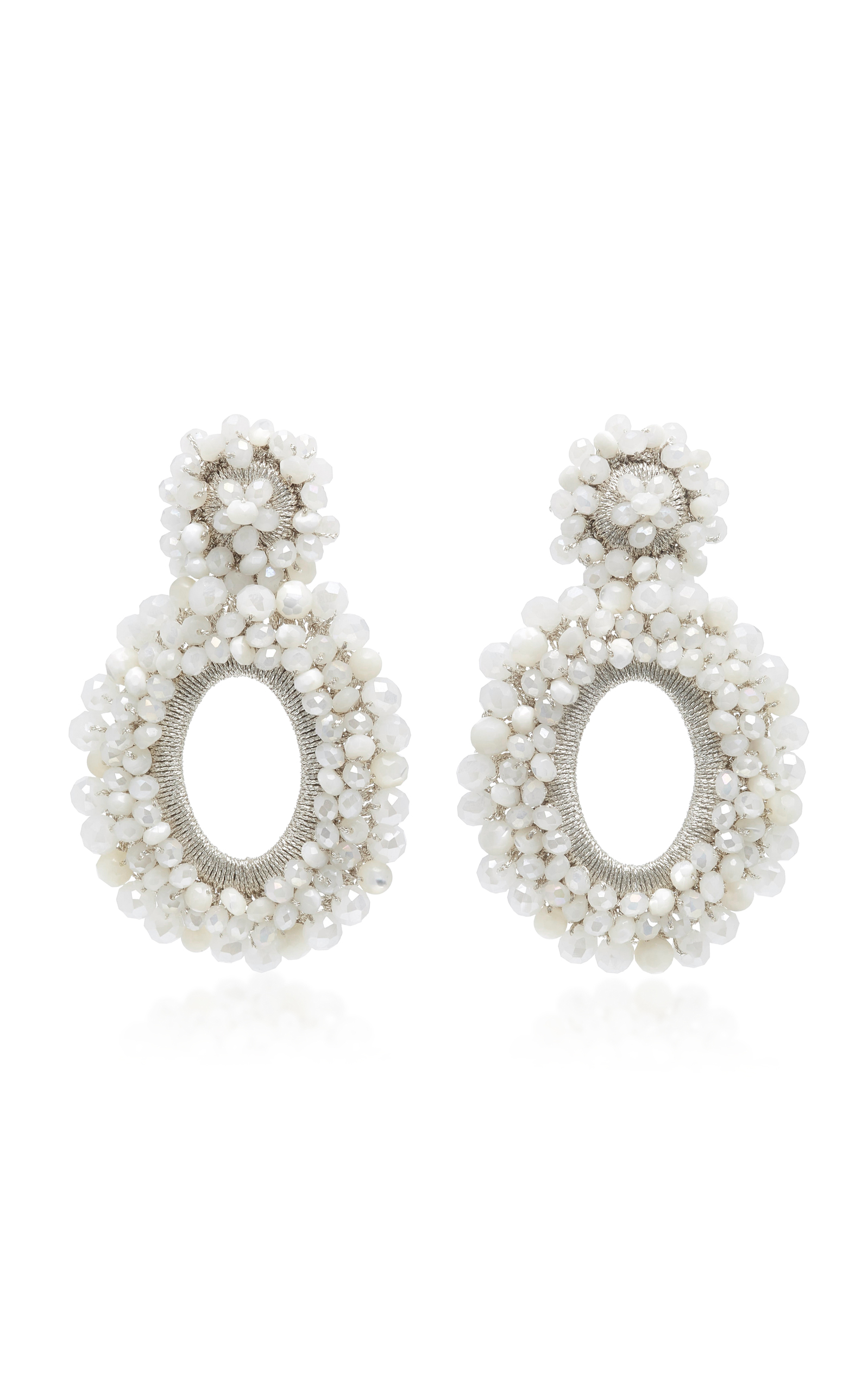 BIBI MARINI WHITE CRYSTAL AND MOTHER OF PEARL PRIMROSE EARRINGS