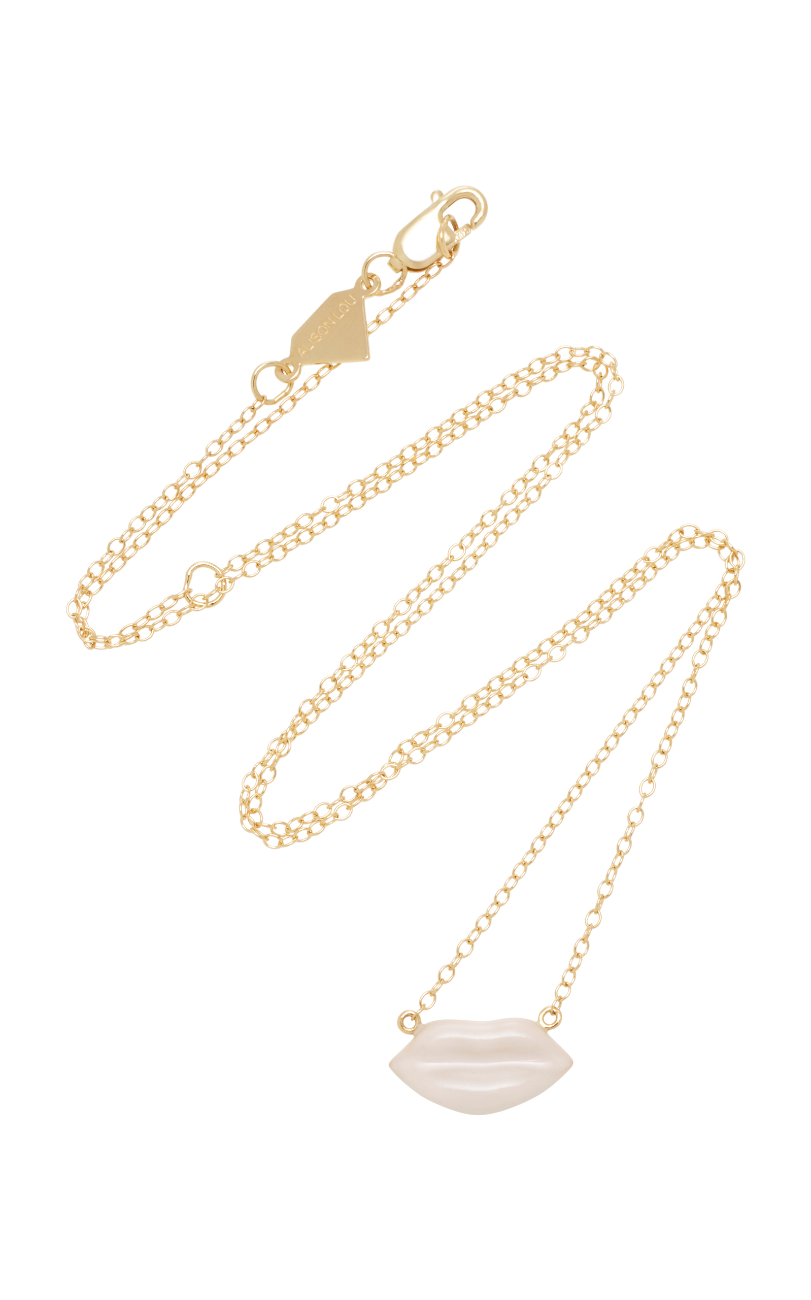 Alison Lou 14K Gold Enamel Pink Lip Necklace