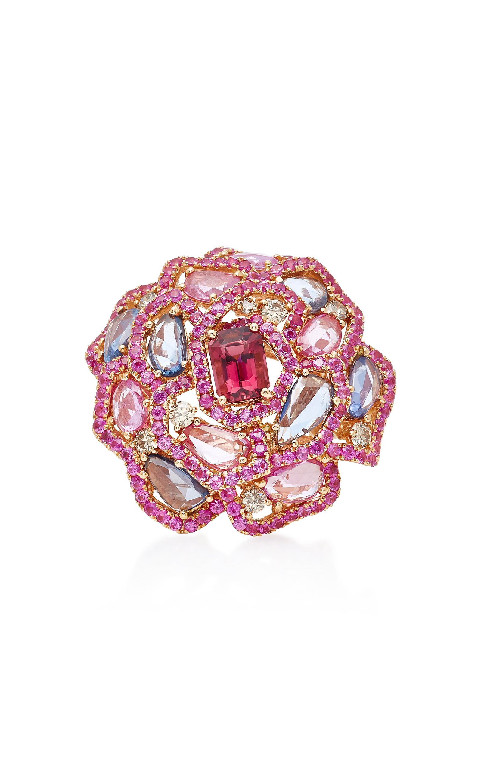Pink Sapphire Flower Ring by Wendy Yue | Moda Operandi