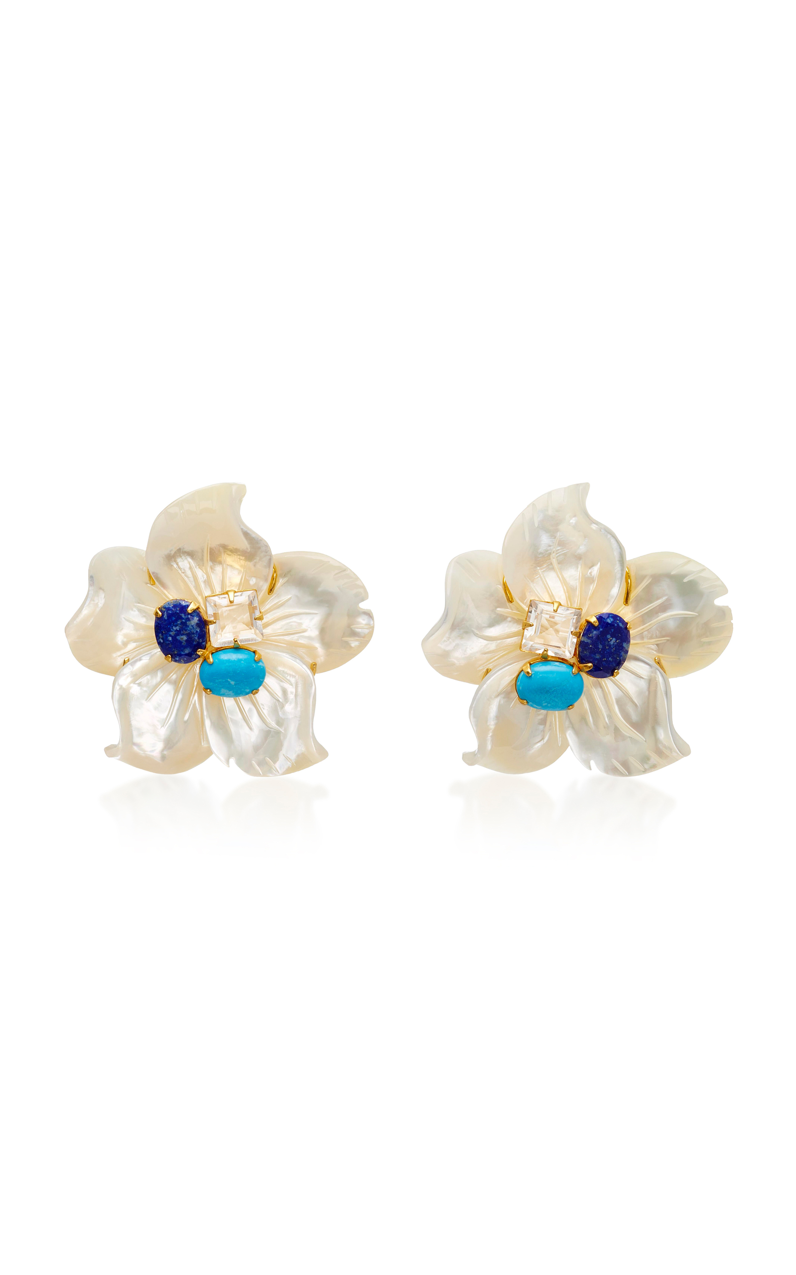 BOUNKIT 14K GOLD PLATED BRASS MOTHER OF PEARL LAPIS TURQUOISE CLEAR QUARTZ CLIP EARRINGS